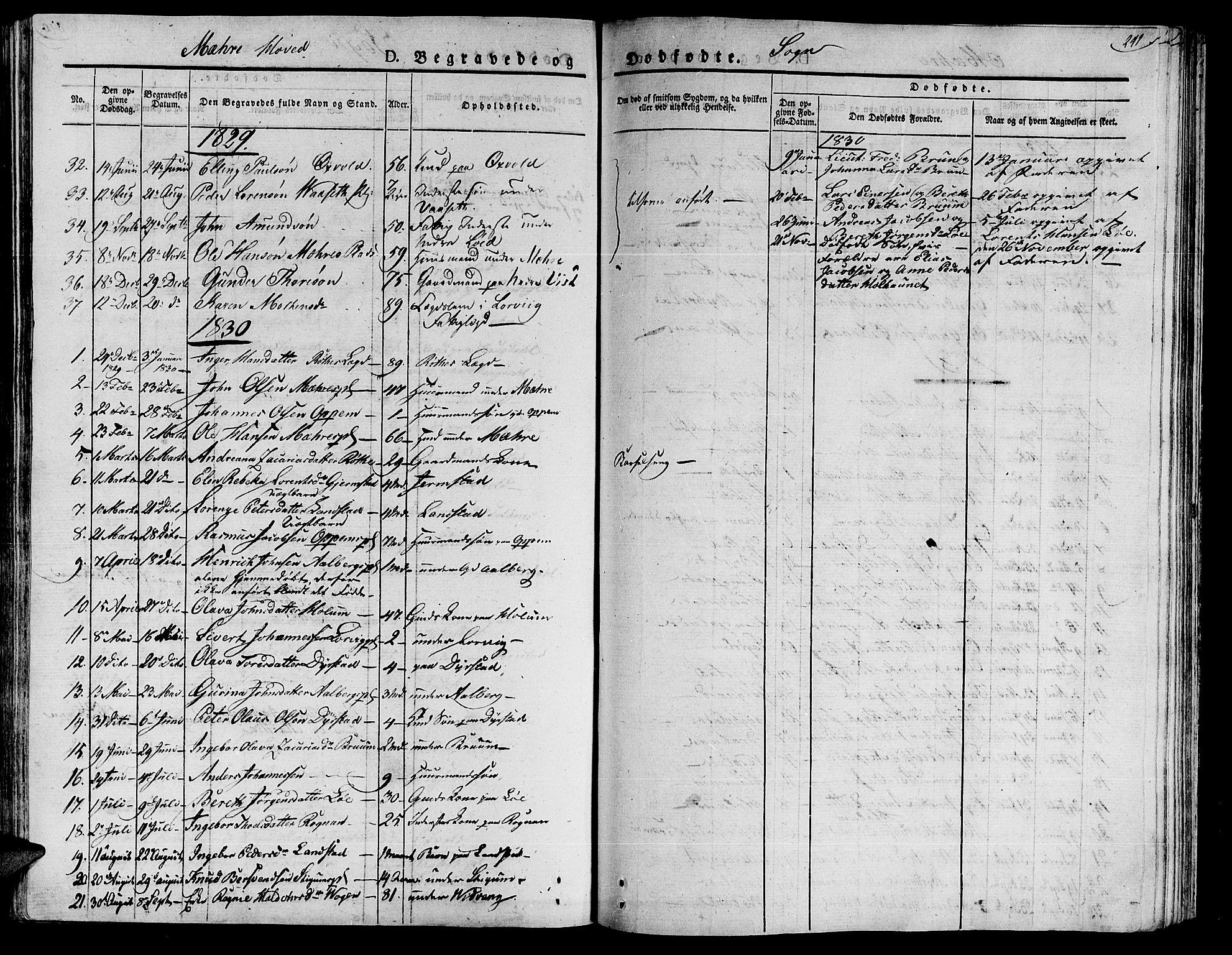 SAT, Ministerialprotokoller, klokkerbøker og fødselsregistre - Nord-Trøndelag, 735/L0336: Ministerialbok nr. 735A05 /1, 1825-1835, s. 241