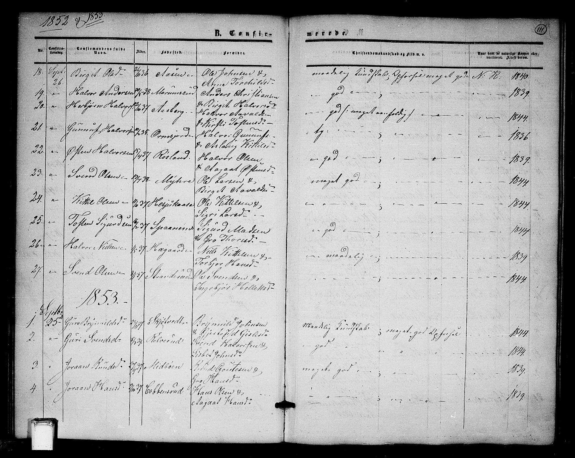 SAKO, Tinn kirkebøker, G/Ga/L0002: Klokkerbok nr. I 2, 1851-1883, s. 111