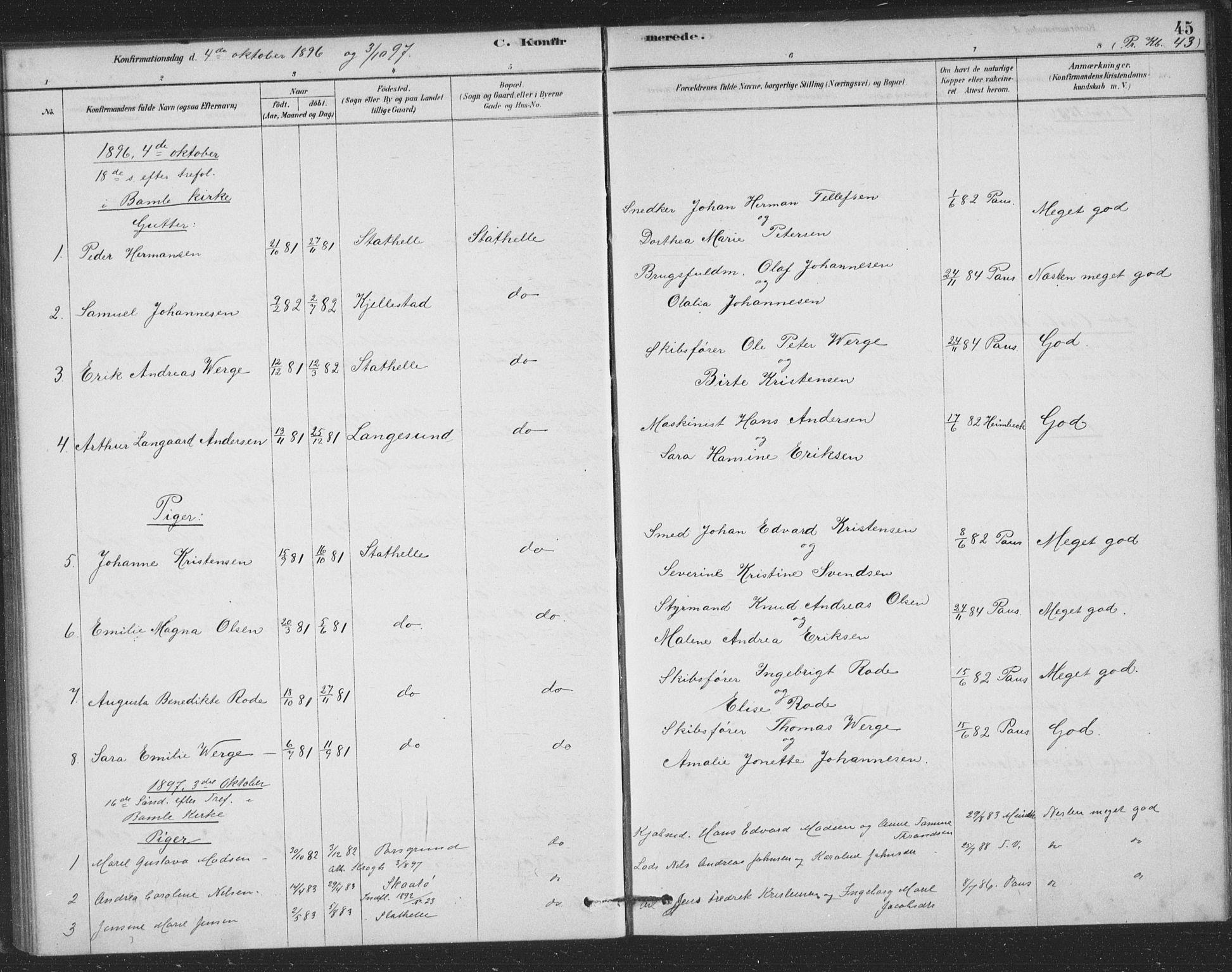 SAKO, Bamble kirkebøker, F/Fb/L0001: Ministerialbok nr. II 1, 1878-1899, s. 45