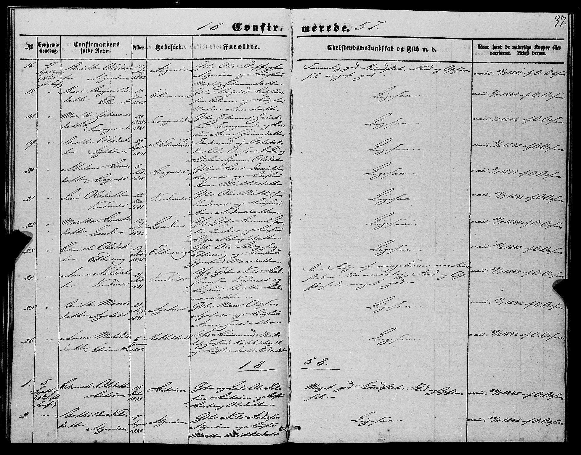 SAB, Fjell Sokneprestembete, H/Haa: Ministerialbok nr. A 4, 1851-1870, s. 37