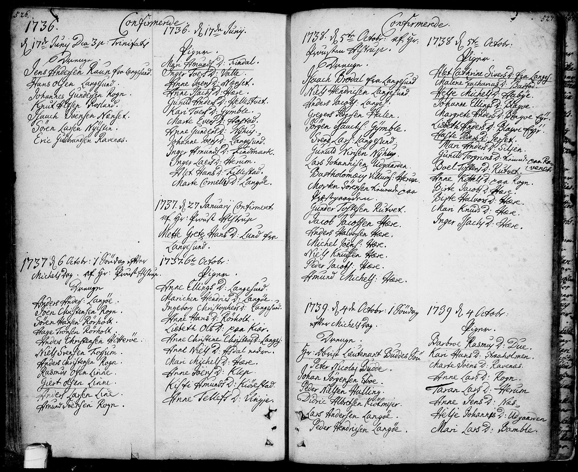 SAKO, Bamble kirkebøker, F/Fa/L0001: Ministerialbok nr. I 1, 1702-1774, s. 526-527