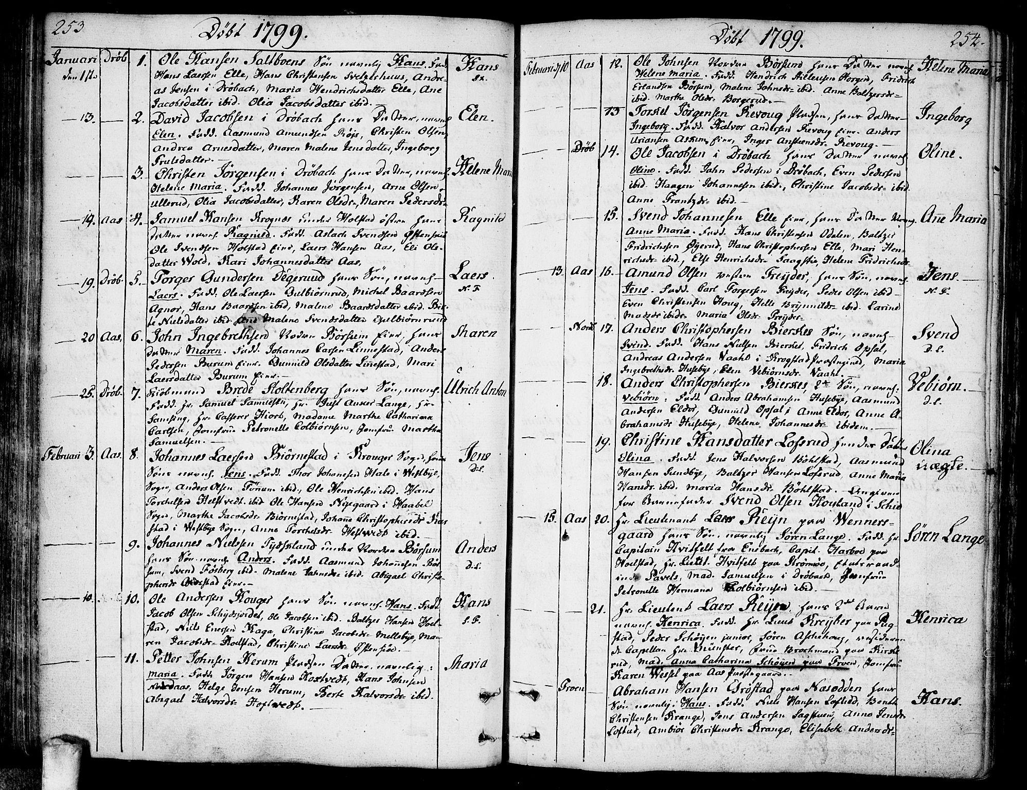 SAO, Ås prestekontor Kirkebøker, F/Fa/L0002: Ministerialbok nr. I 2, 1778-1813, s. 253-254