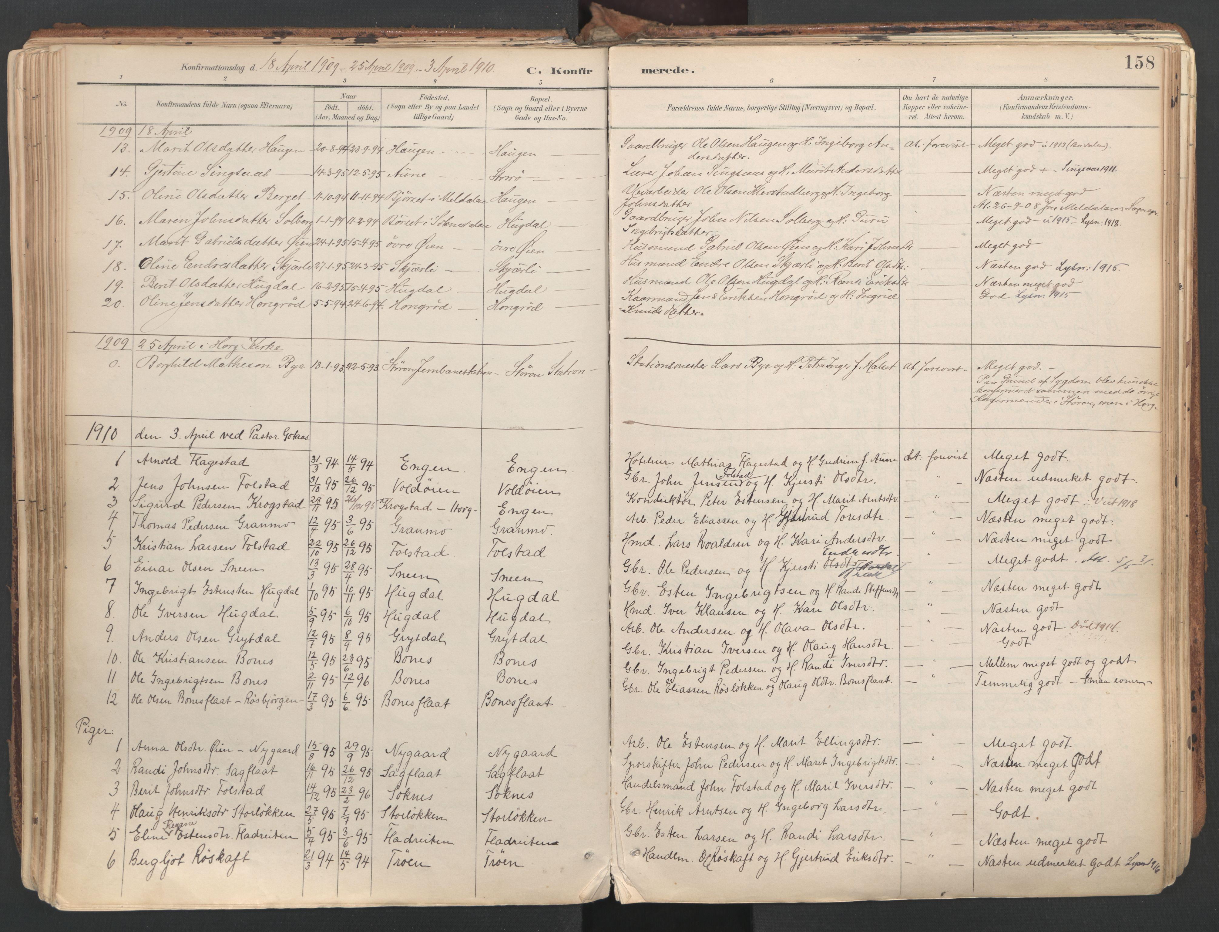 SAT, Ministerialprotokoller, klokkerbøker og fødselsregistre - Sør-Trøndelag, 687/L1004: Ministerialbok nr. 687A10, 1891-1923, s. 158