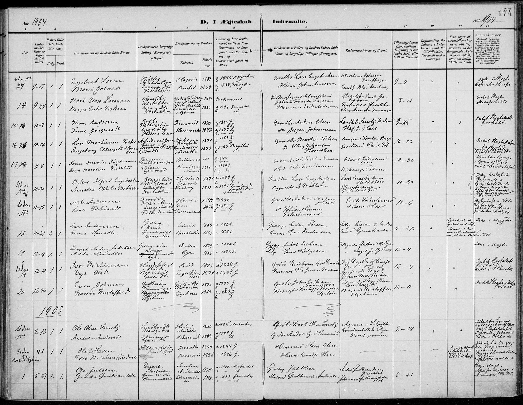 SAH, Jevnaker prestekontor, Ministerialbok nr. 11, 1902-1913, s. 174