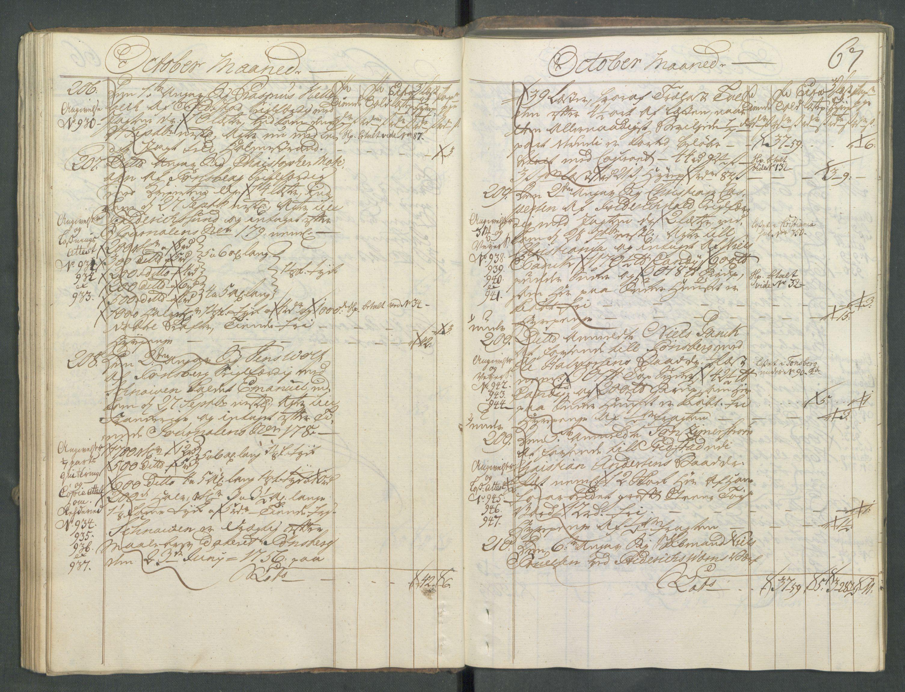 RA, Generaltollkammeret, tollregnskaper, R01/L0029: Tollregnskaper Fredrikshald, 1756, s. 66b-67a