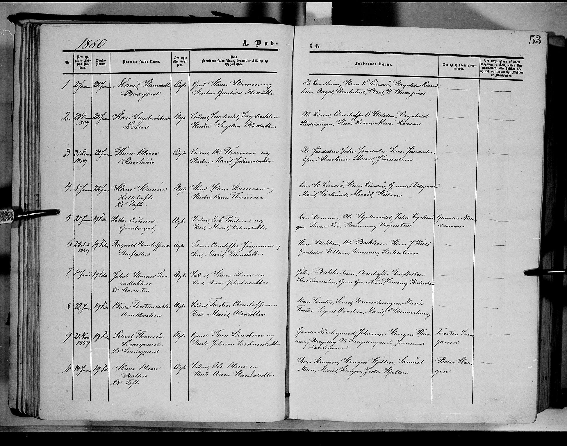 SAH, Dovre prestekontor, Ministerialbok nr. 1, 1854-1878, s. 53