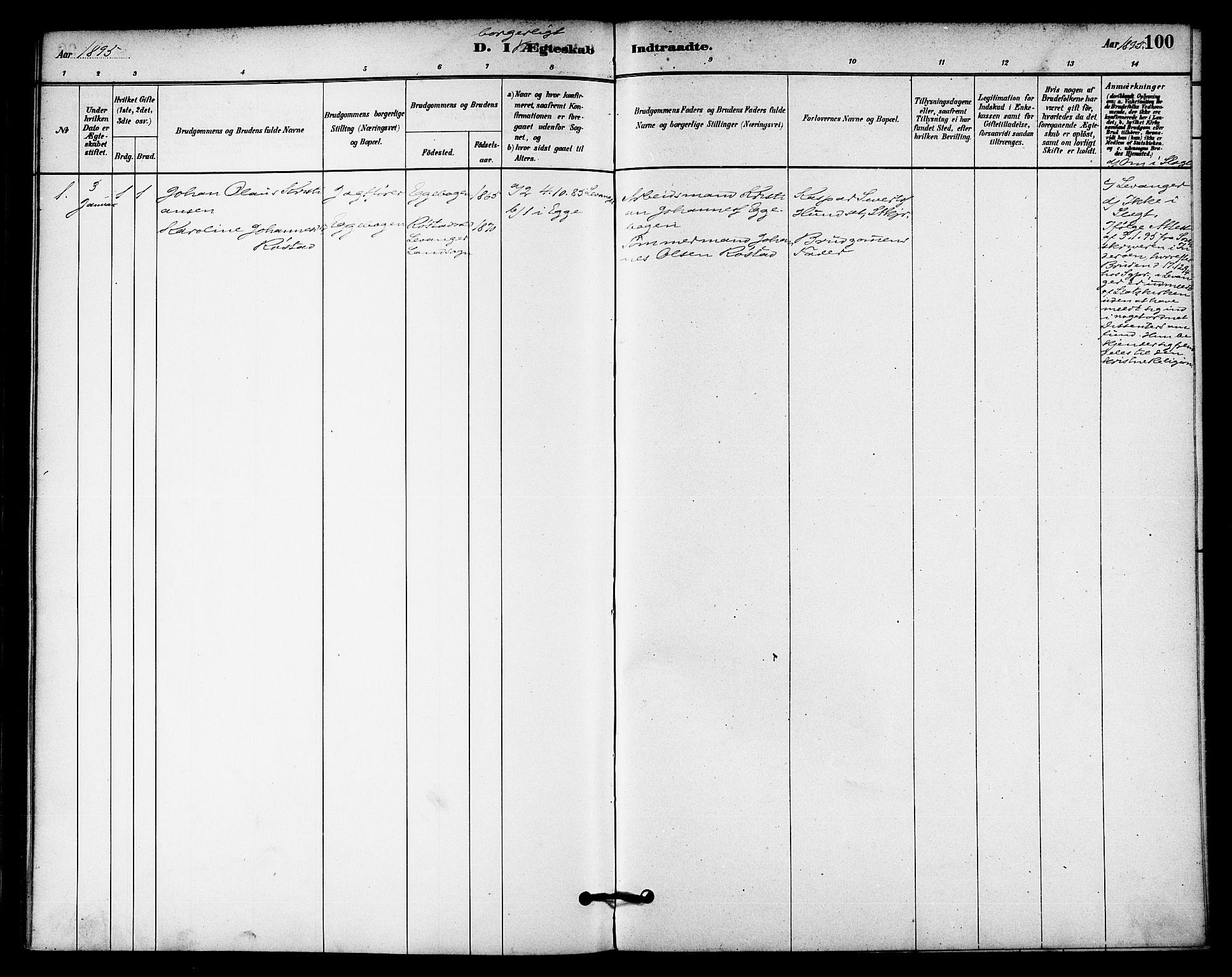 SAT, Ministerialprotokoller, klokkerbøker og fødselsregistre - Nord-Trøndelag, 740/L0378: Ministerialbok nr. 740A01, 1881-1895, s. 100