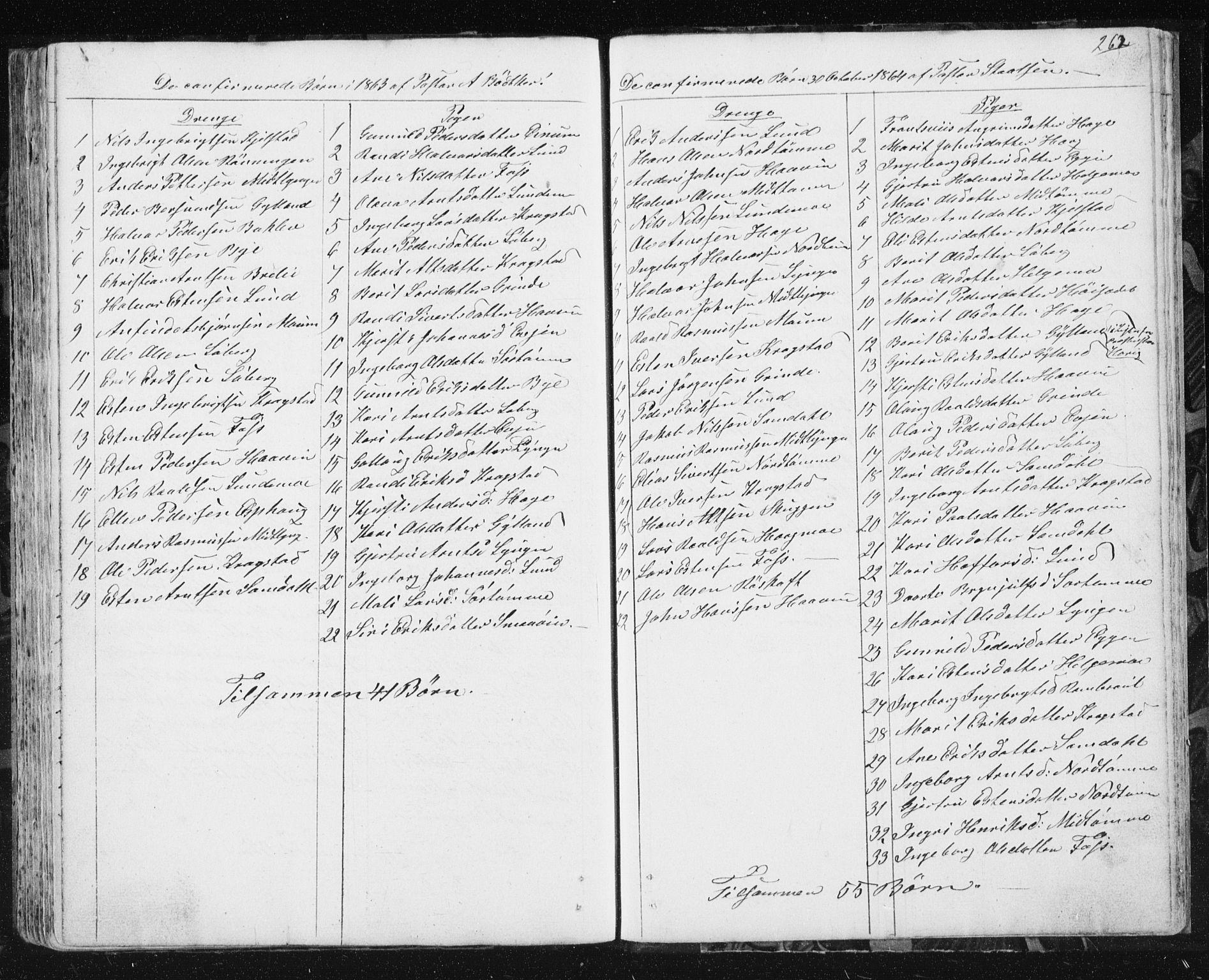 SAT, Ministerialprotokoller, klokkerbøker og fødselsregistre - Sør-Trøndelag, 692/L1110: Klokkerbok nr. 692C05, 1849-1889, s. 262