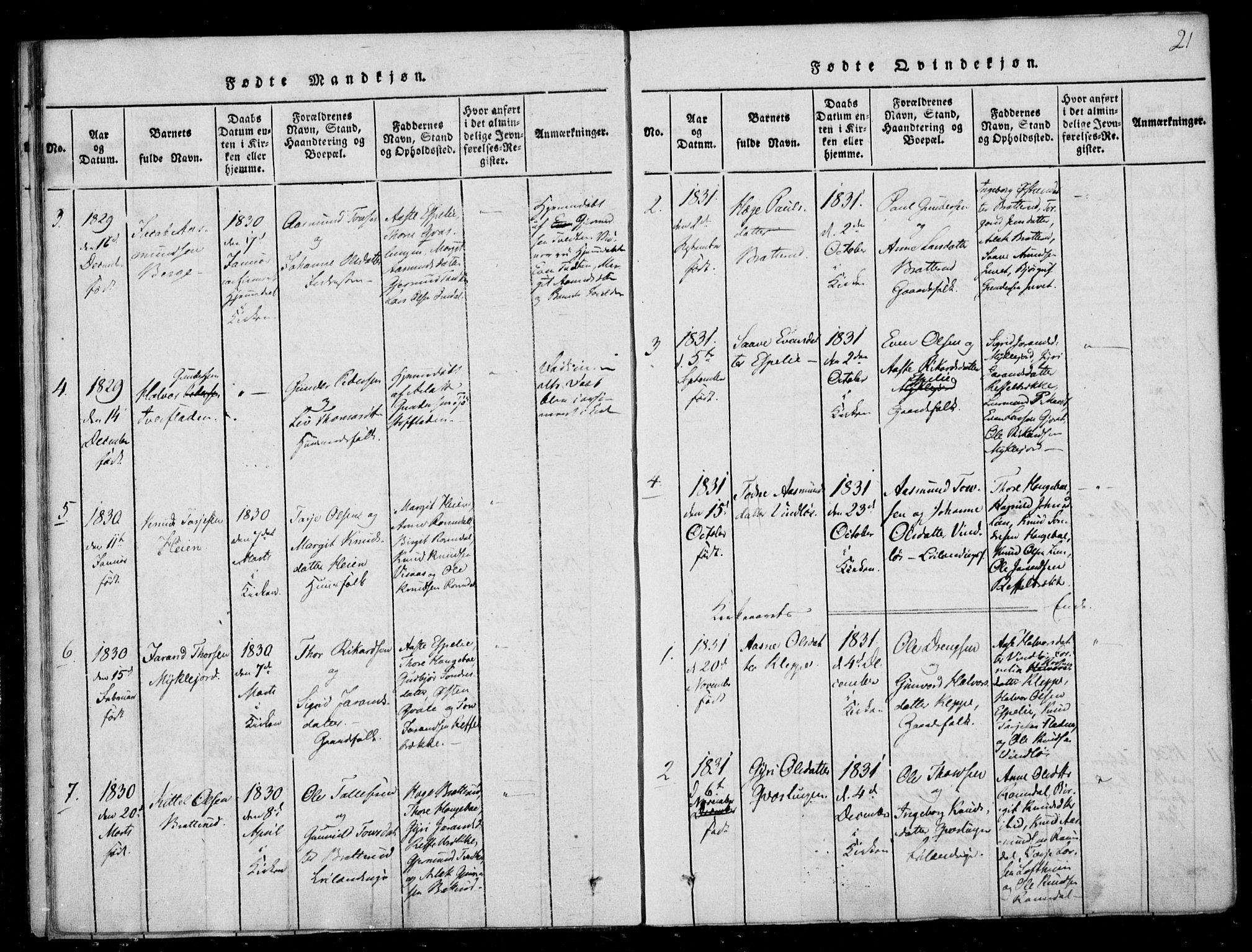 SAKO, Lårdal kirkebøker, F/Fb/L0001: Ministerialbok nr. II 1, 1815-1860, s. 21