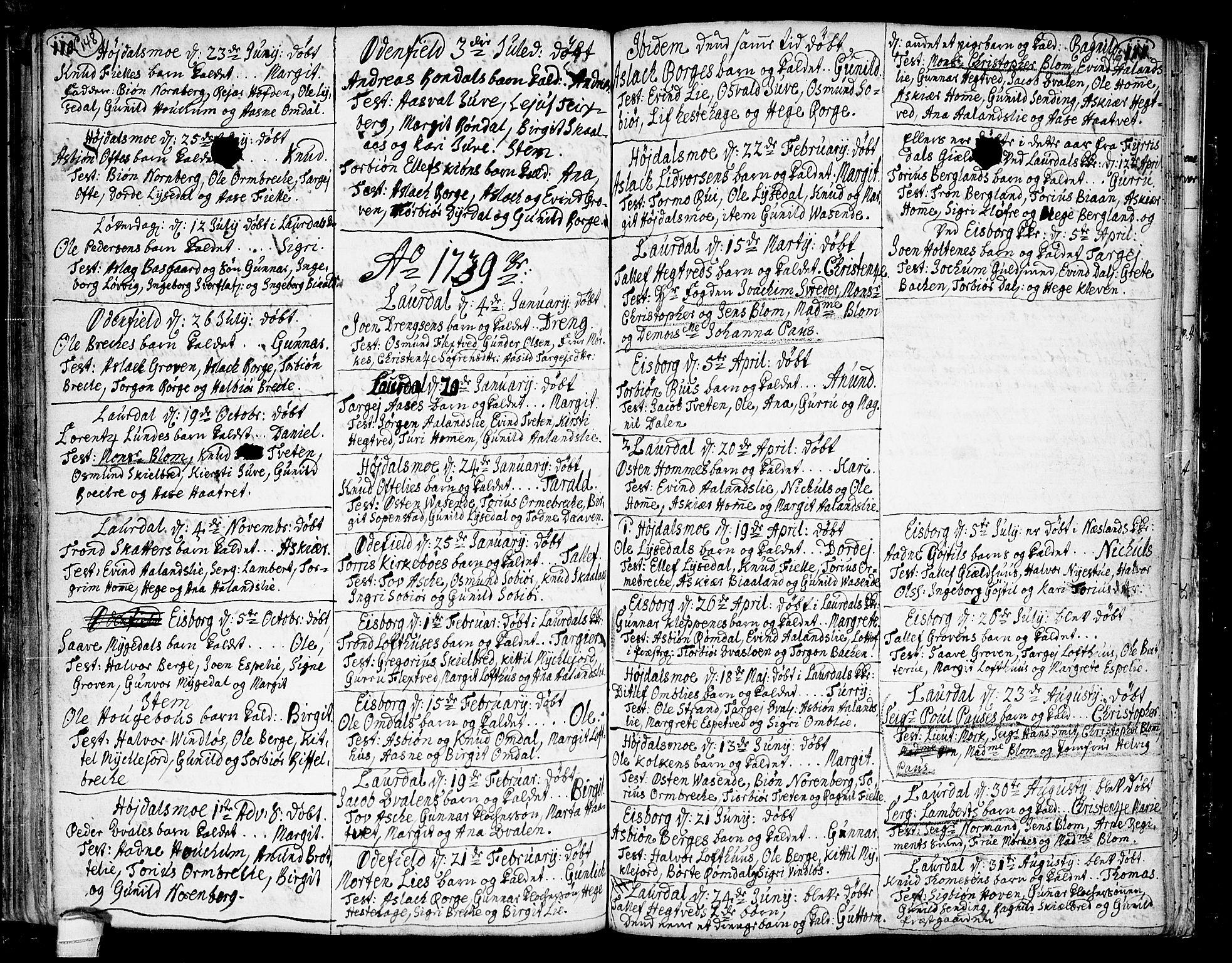 SAKO, Lårdal kirkebøker, F/Fa/L0002: Ministerialbok nr. I 2, 1734-1754, s. 148-149