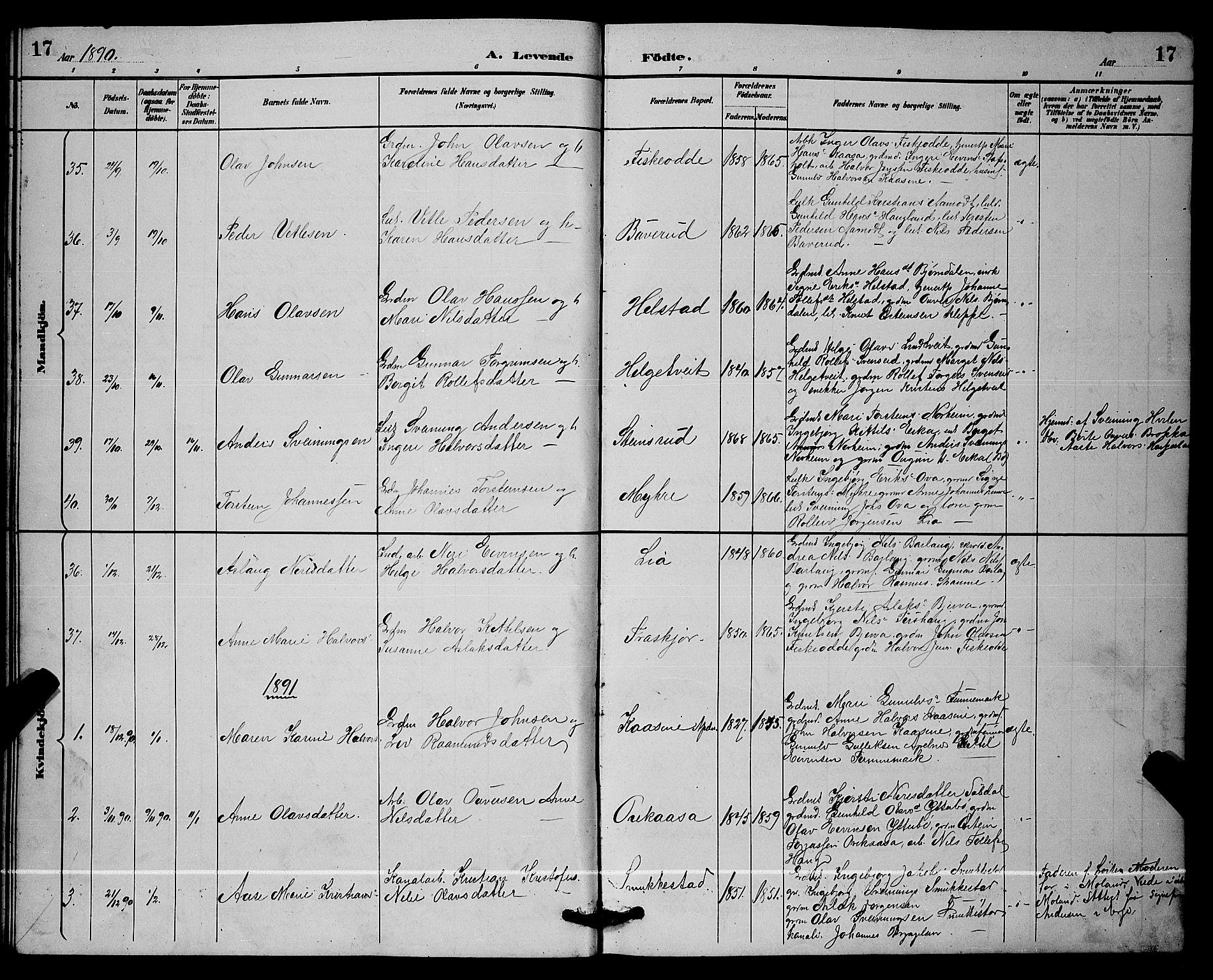 SAKO, Lunde kirkebøker, G/Ga/L0002: Klokkerbok nr. I 2, 1887-1896, s. 17