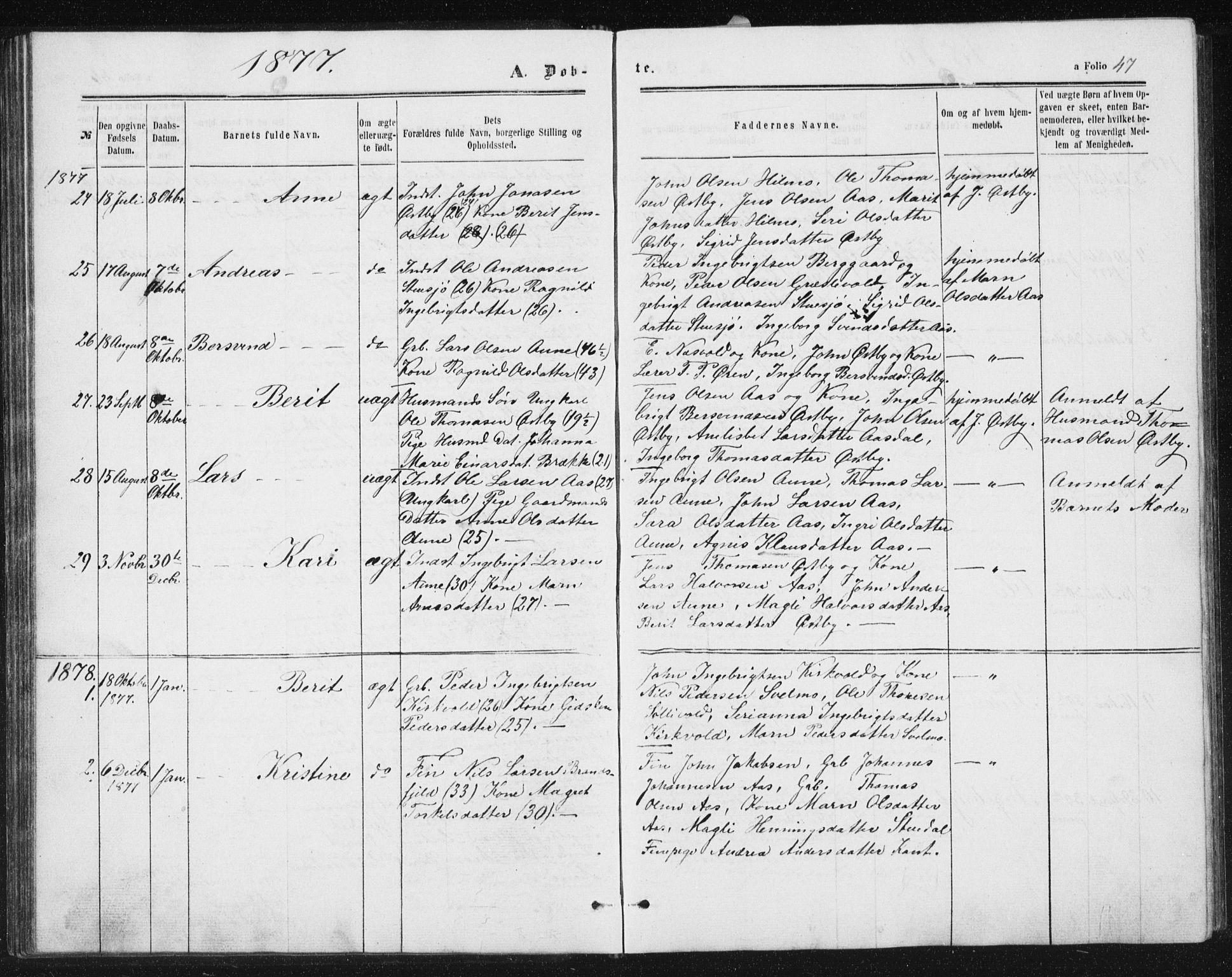 SAT, Ministerialprotokoller, klokkerbøker og fødselsregistre - Sør-Trøndelag, 698/L1166: Klokkerbok nr. 698C03, 1861-1887, s. 47