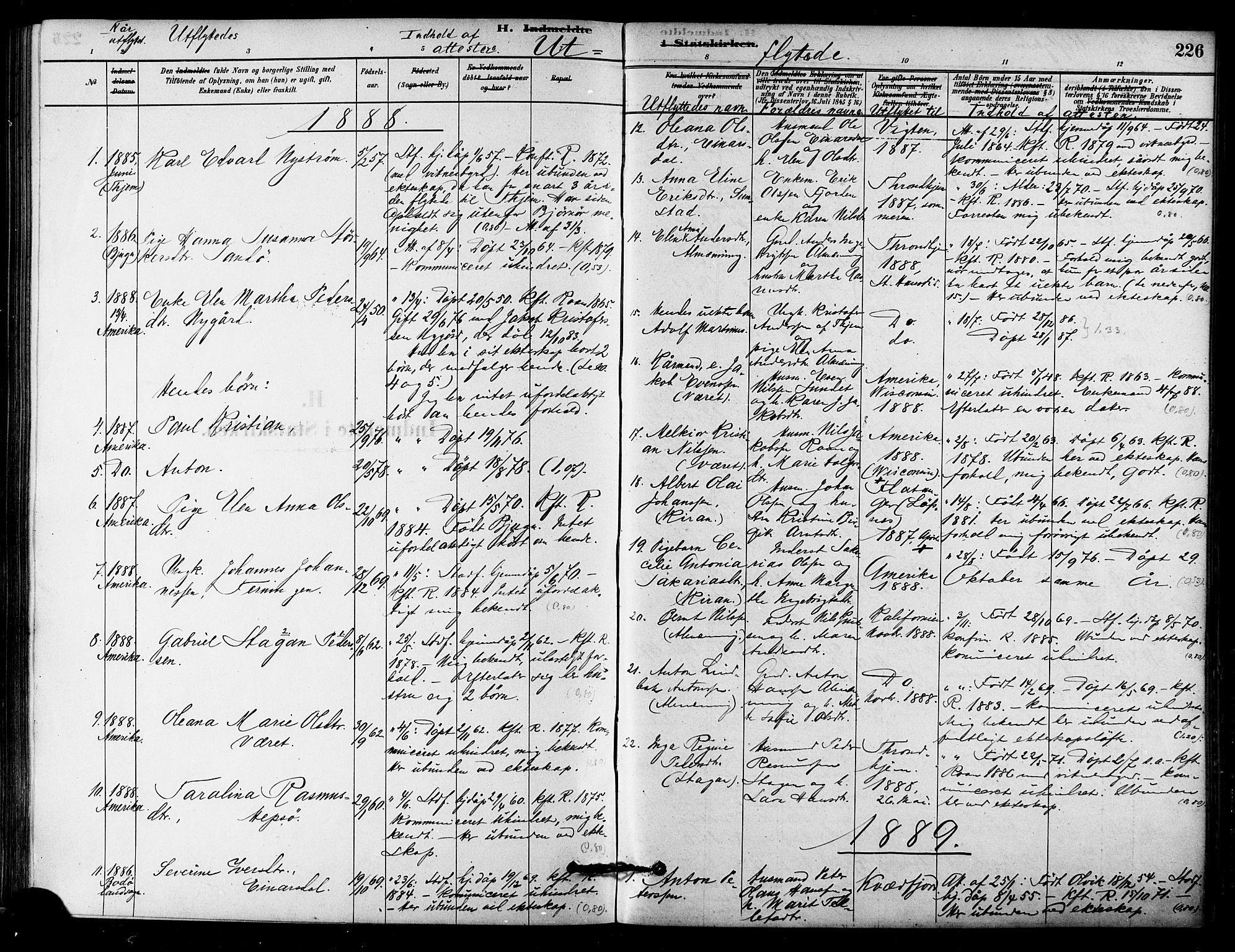 SAT, Ministerialprotokoller, klokkerbøker og fødselsregistre - Sør-Trøndelag, 657/L0707: Ministerialbok nr. 657A08, 1879-1893, s. 226