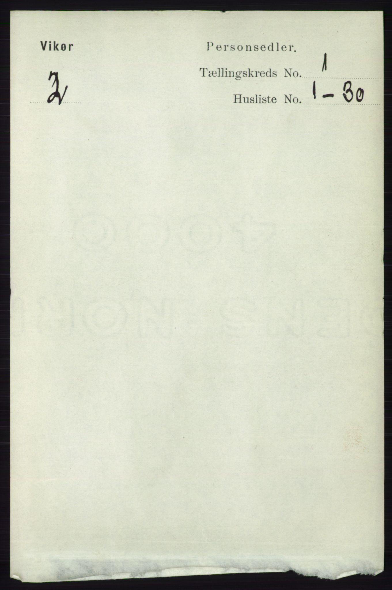 RA, Folketelling 1891 for 1238 Vikør herred, 1891, s. 92