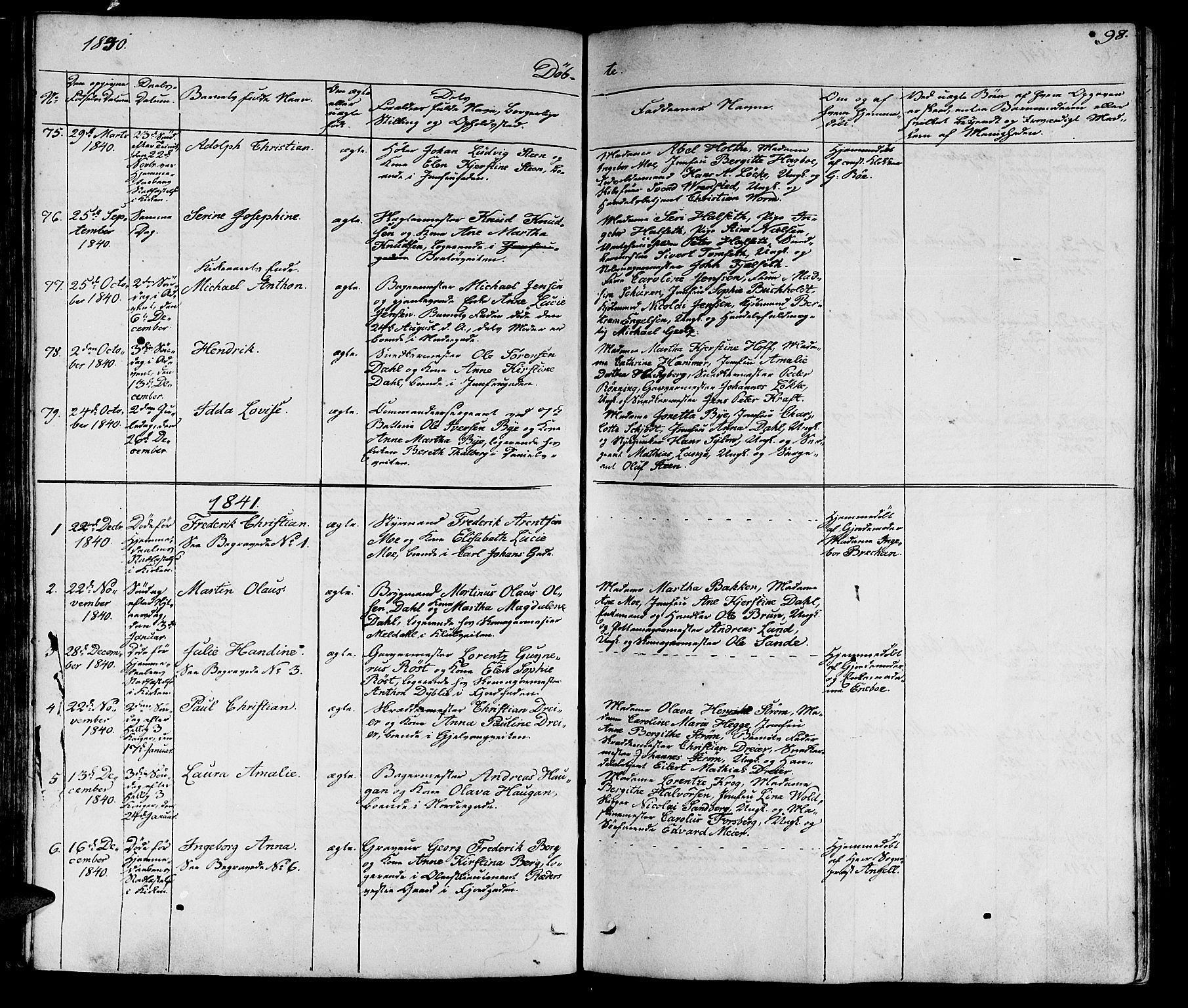 SAT, Ministerialprotokoller, klokkerbøker og fødselsregistre - Sør-Trøndelag, 602/L0136: Klokkerbok nr. 602C04, 1833-1845, s. 98
