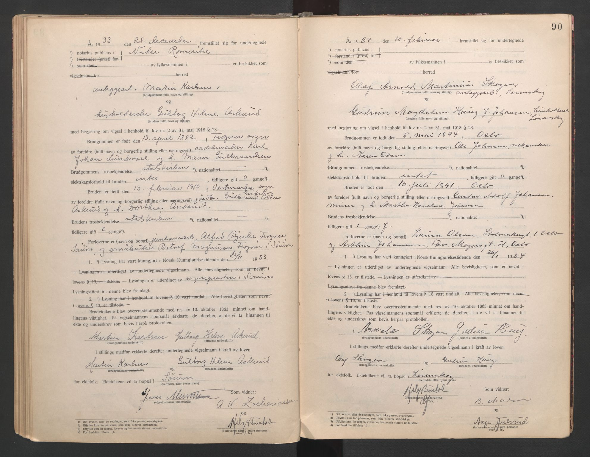 SAO, Nedre Romerike sorenskriveri, L/Lb/L0001: Vigselsbok - borgerlige vielser, 1920-1935, s. 90