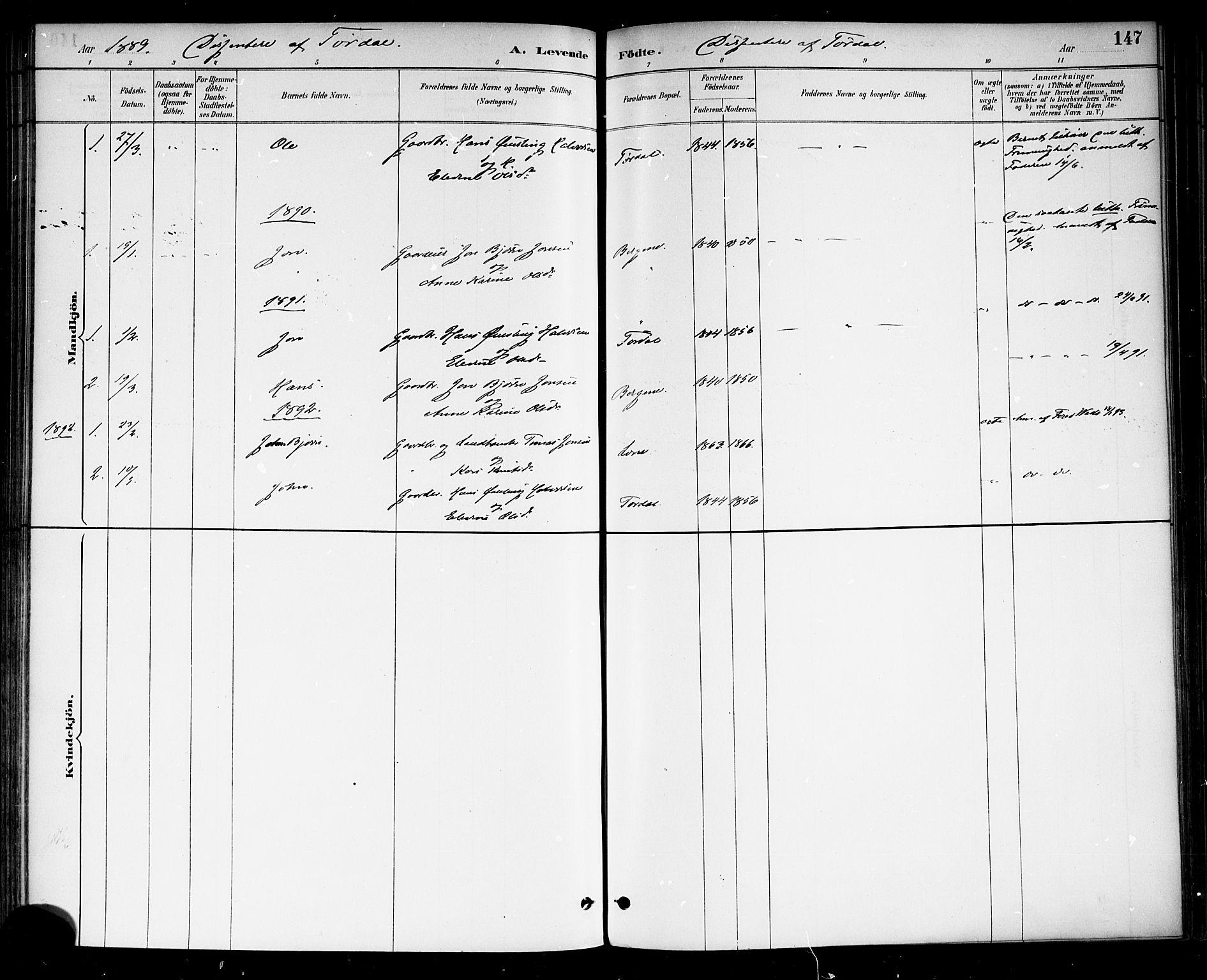 SAKO, Drangedal kirkebøker, F/Fa/L0010: Ministerialbok nr. 10 /2, 1885-1894, s. 147