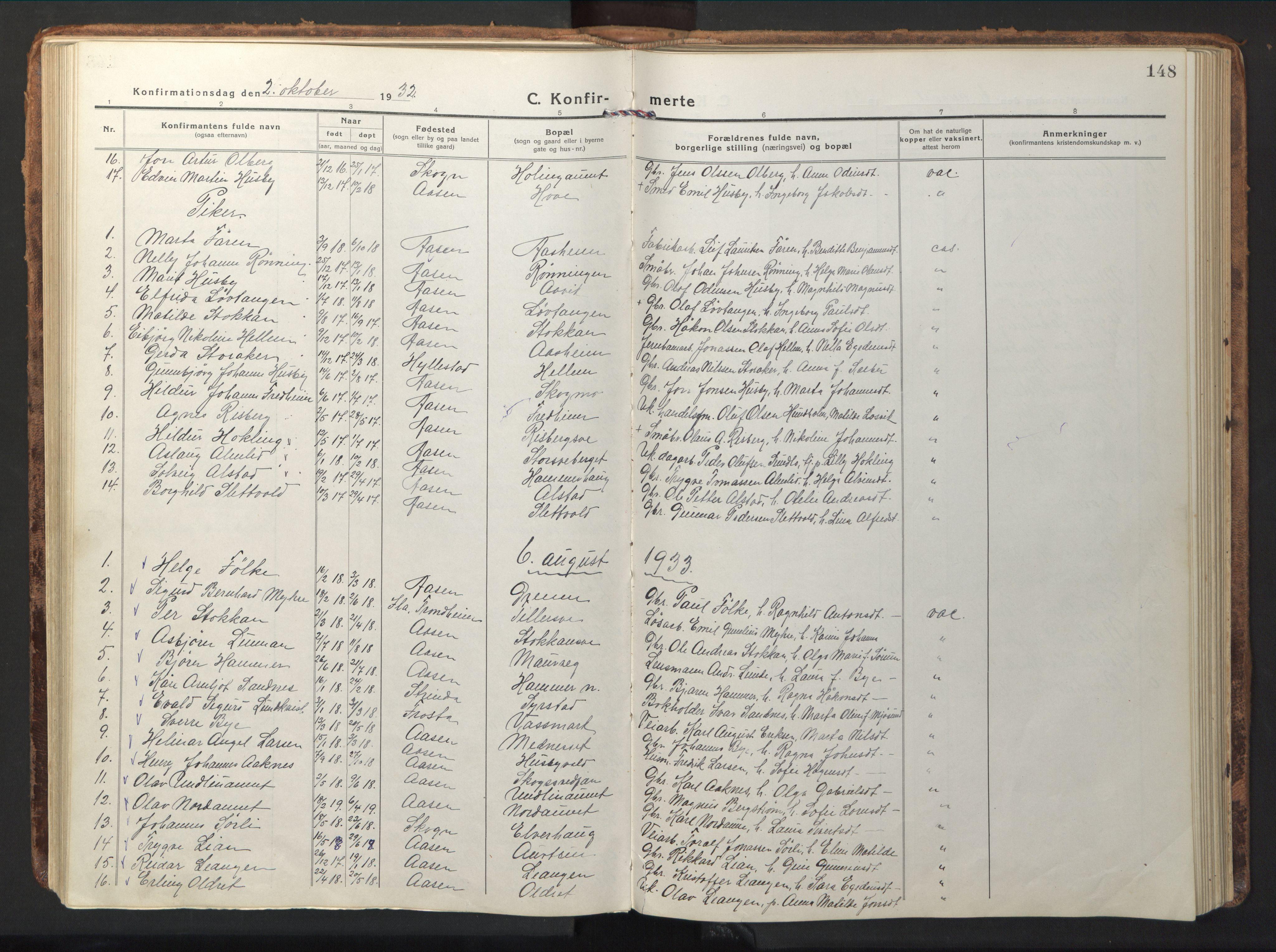 SAT, Ministerialprotokoller, klokkerbøker og fødselsregistre - Nord-Trøndelag, 714/L0136: Klokkerbok nr. 714C05, 1918-1957, s. 148