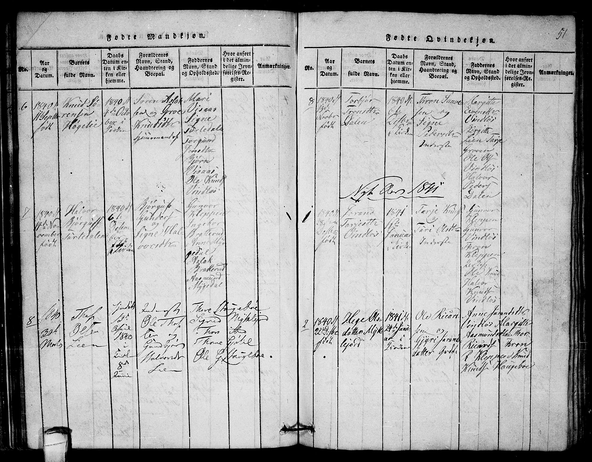 SAKO, Lårdal kirkebøker, G/Gb/L0001: Klokkerbok nr. II 1, 1815-1865, s. 51