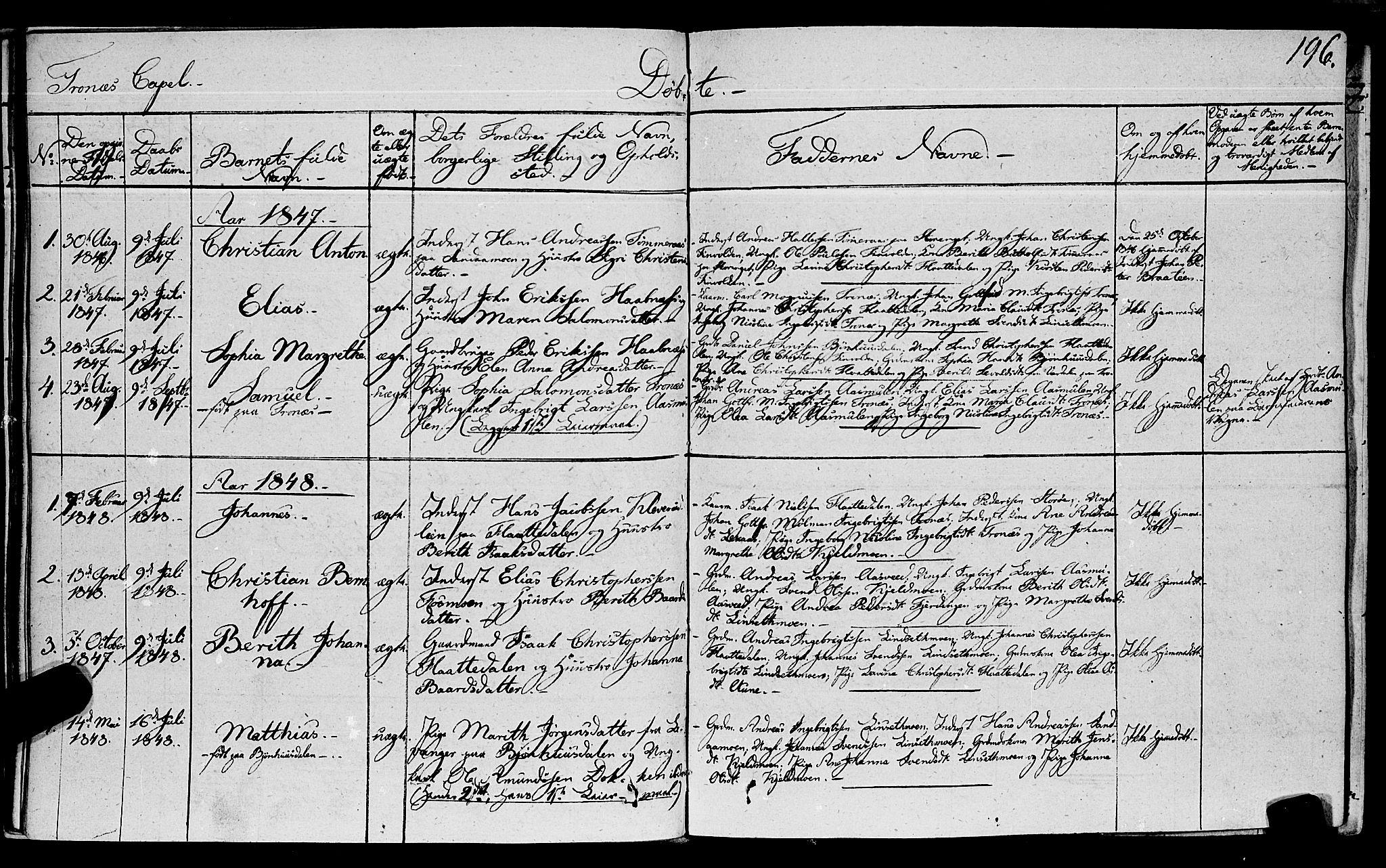 SAT, Ministerialprotokoller, klokkerbøker og fødselsregistre - Nord-Trøndelag, 762/L0538: Ministerialbok nr. 762A02 /2, 1833-1879, s. 196