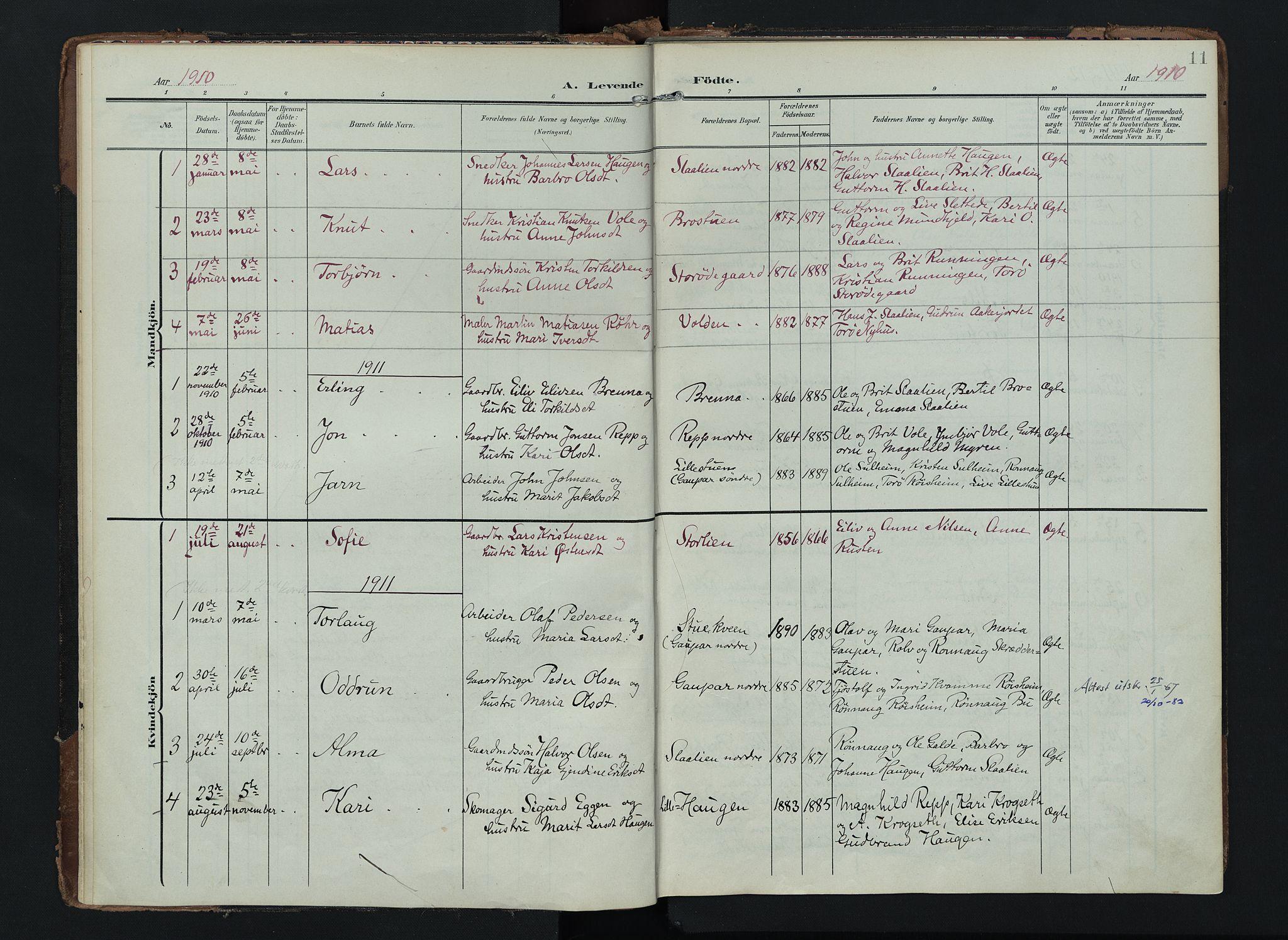 SAH, Lom prestekontor, K/L0012: Ministerialbok nr. 12, 1904-1928, s. 11