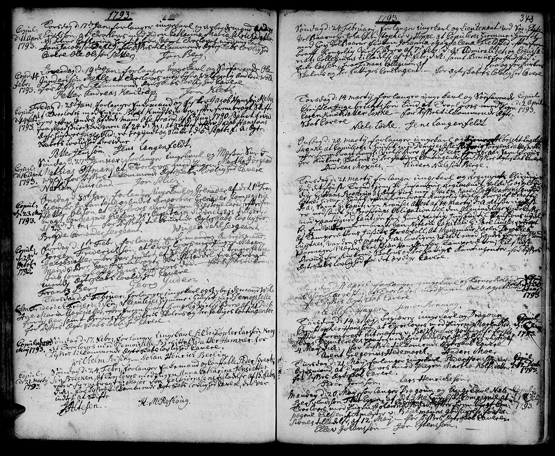 SAT, Ministerialprotokoller, klokkerbøker og fødselsregistre - Sør-Trøndelag, 601/L0038: Ministerialbok nr. 601A06, 1766-1877, s. 343