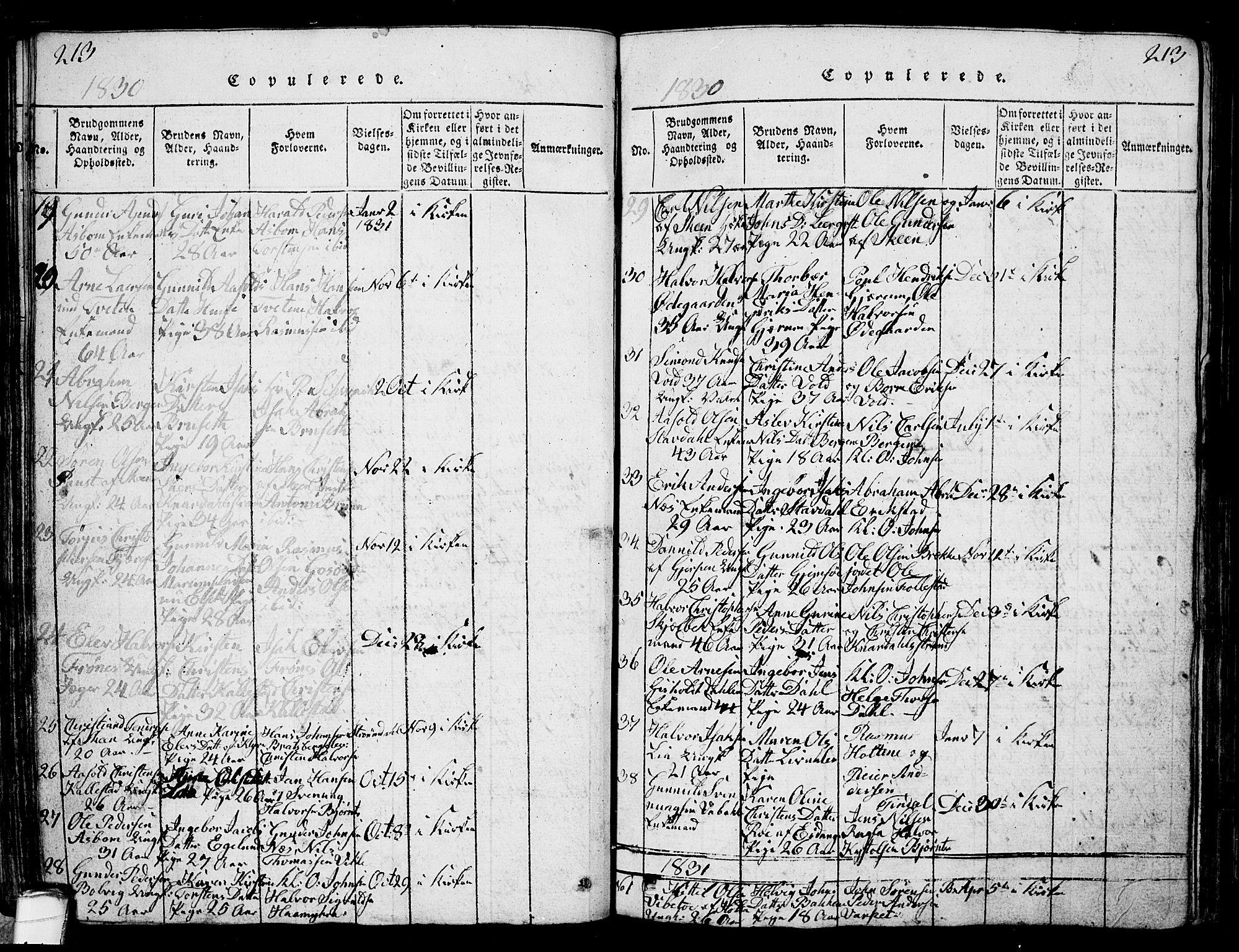 SAKO, Solum kirkebøker, G/Ga/L0001: Klokkerbok nr. I 1, 1814-1833, s. 213
