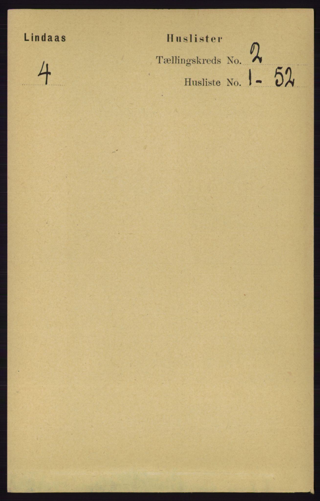 RA, Folketelling 1891 for 1263 Lindås herred, 1891, s. 374