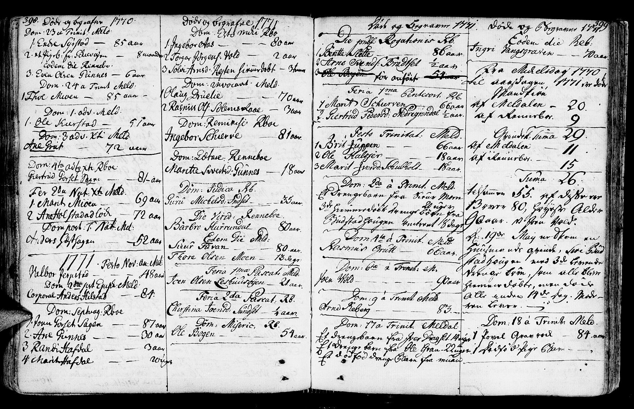 SAT, Ministerialprotokoller, klokkerbøker og fødselsregistre - Sør-Trøndelag, 672/L0851: Ministerialbok nr. 672A04, 1751-1775, s. 398-399