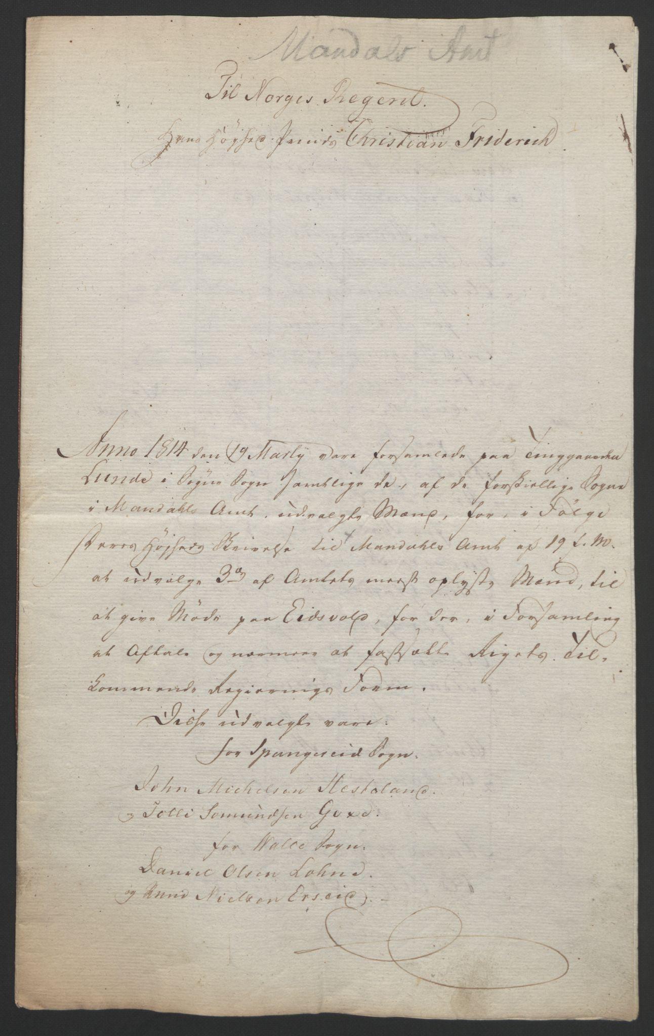 RA, Statsrådssekretariatet, D/Db/L0008: Fullmakter for Eidsvollsrepresentantene i 1814. , 1814, s. 120