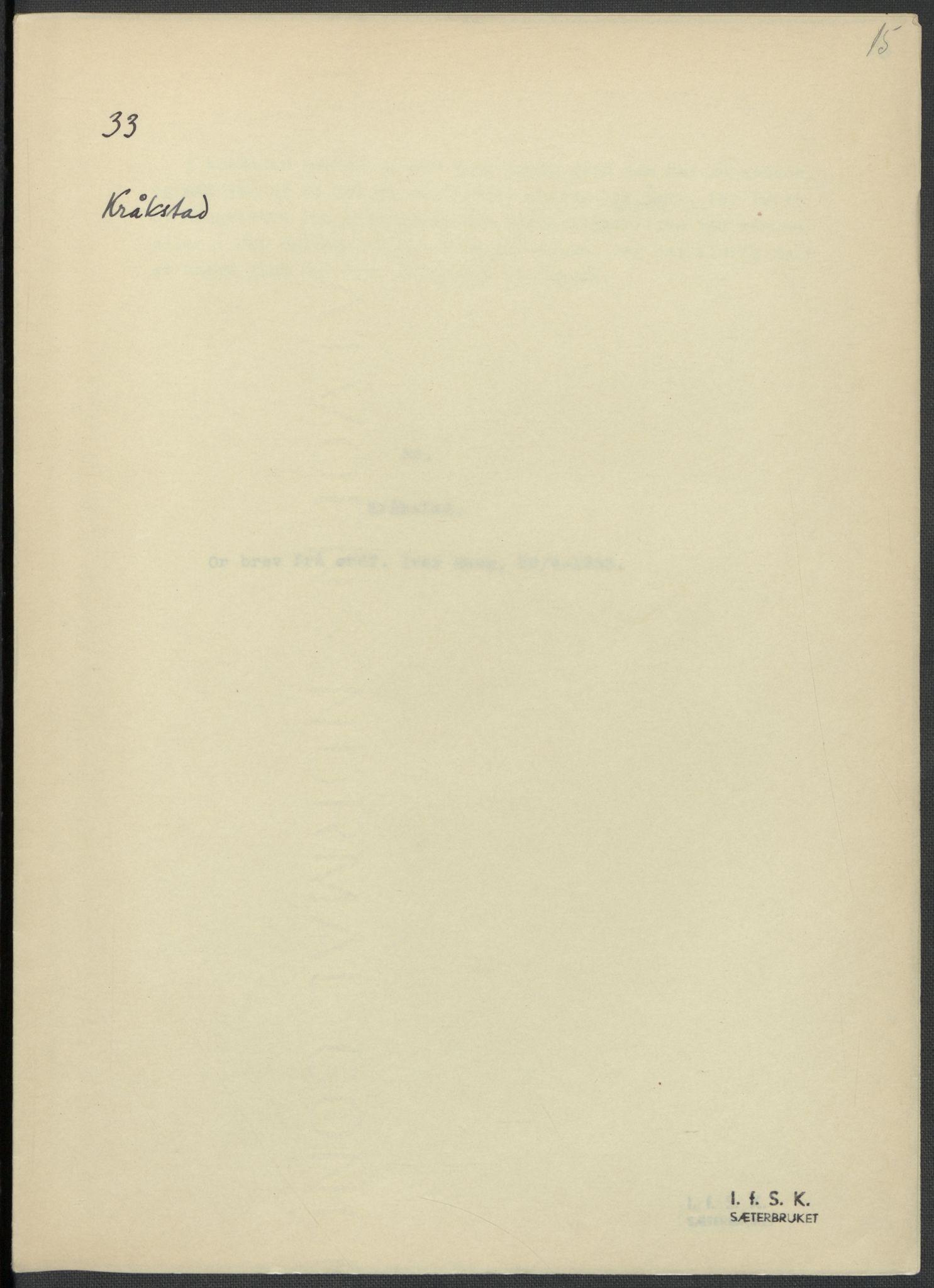 RA, Instituttet for sammenlignende kulturforskning, F/Fc/L0002: Eske B2:, 1932-1936, s. 15