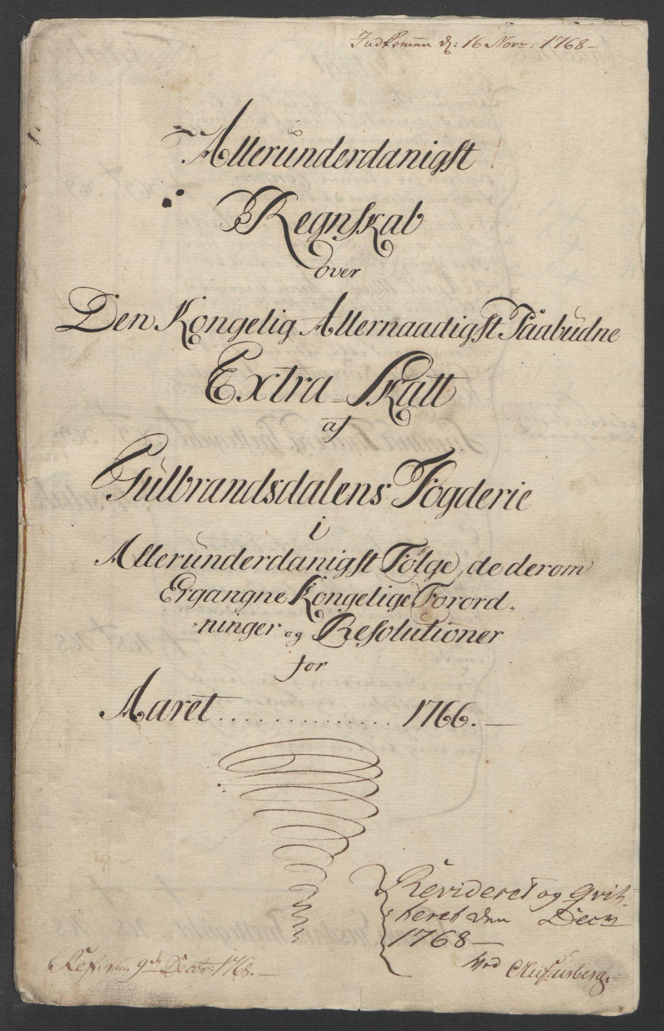 RA, Rentekammeret inntil 1814, Reviderte regnskaper, Fogderegnskap, R17/L1266: Ekstraskatten Gudbrandsdal, 1762-1766, s. 529