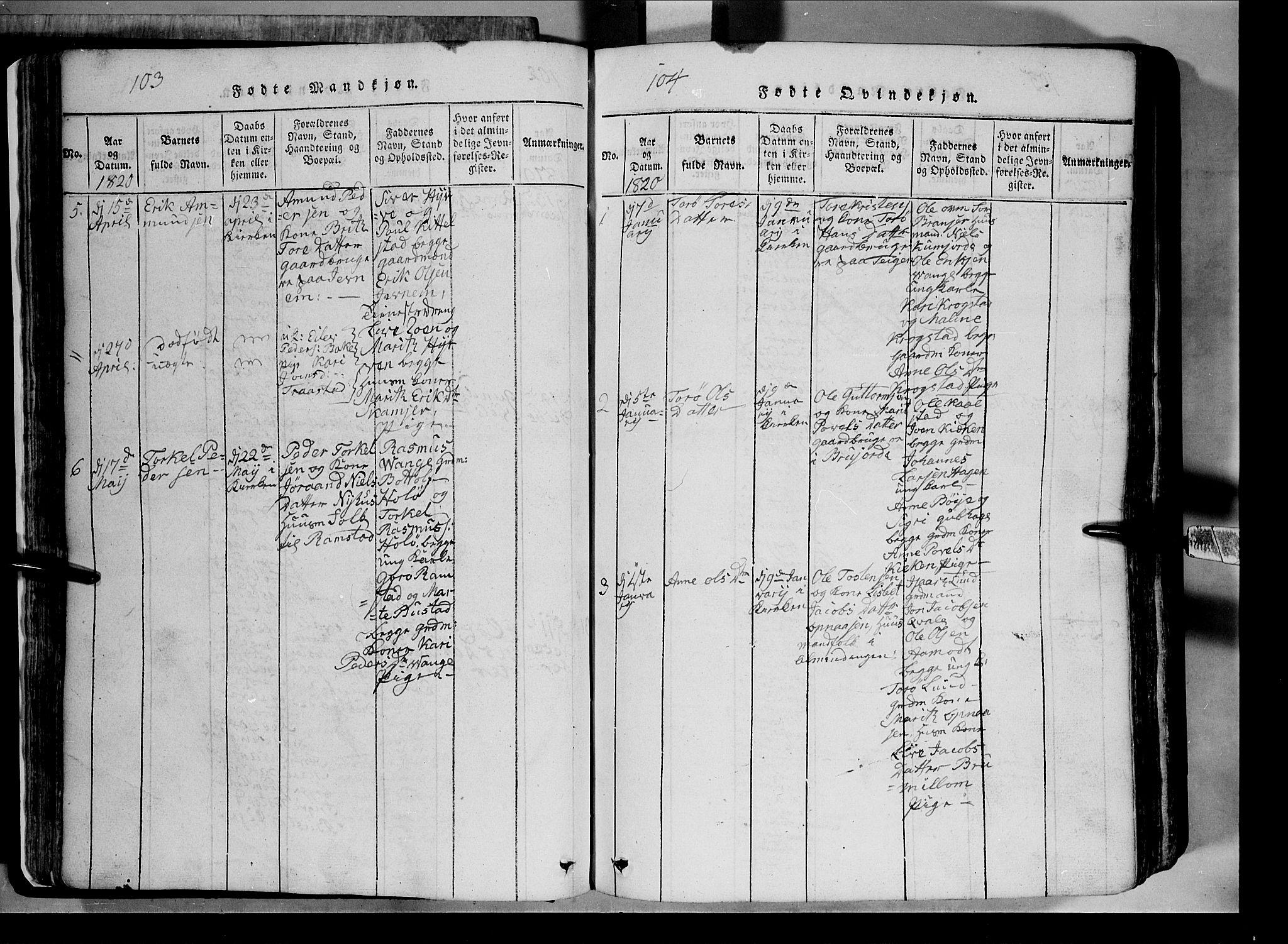SAH, Lom prestekontor, L/L0003: Klokkerbok nr. 3, 1815-1844, s. 103-104