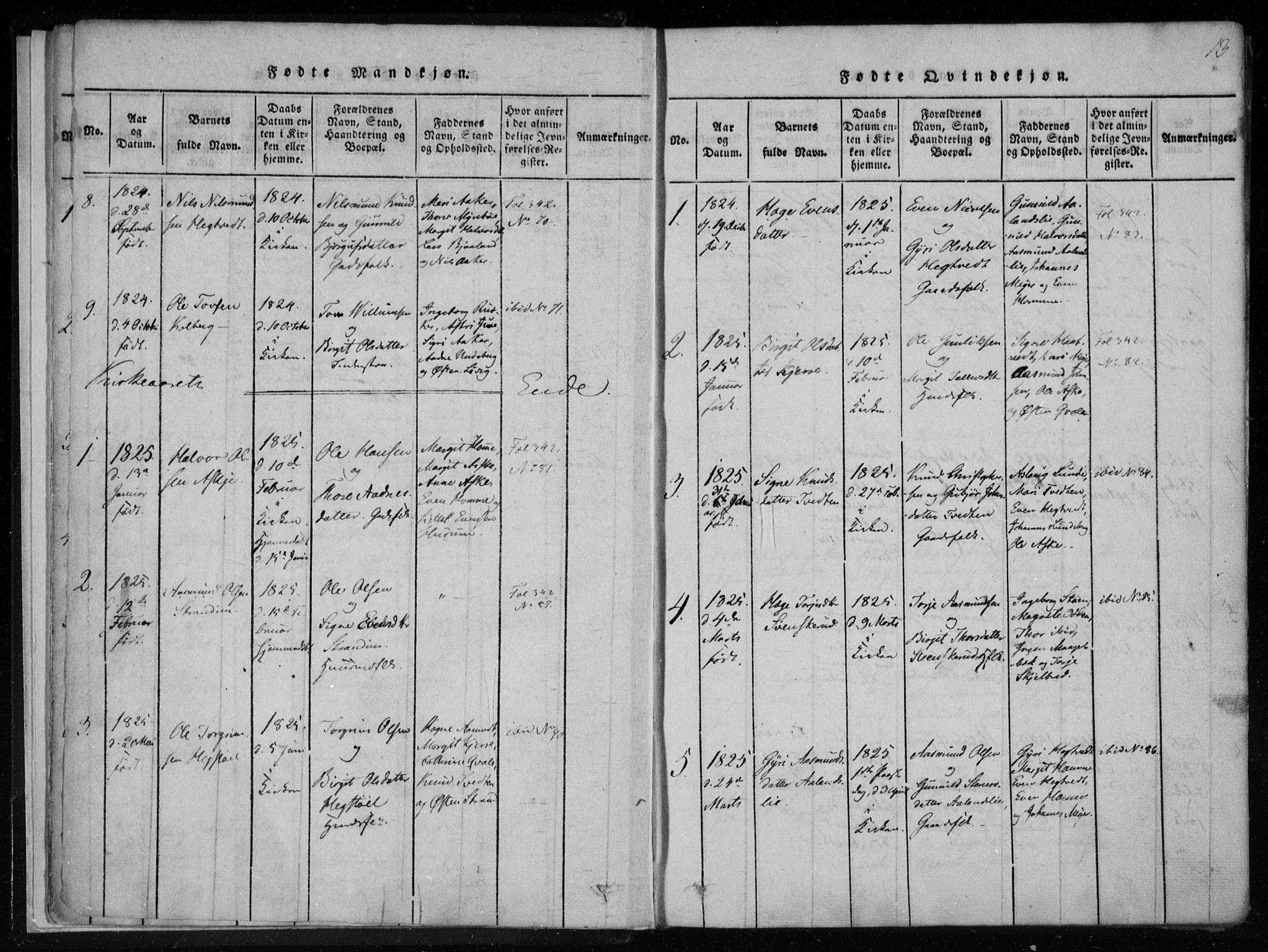 SAKO, Lårdal kirkebøker, F/Fa/L0005: Ministerialbok nr. I 5, 1815-1860, s. 13