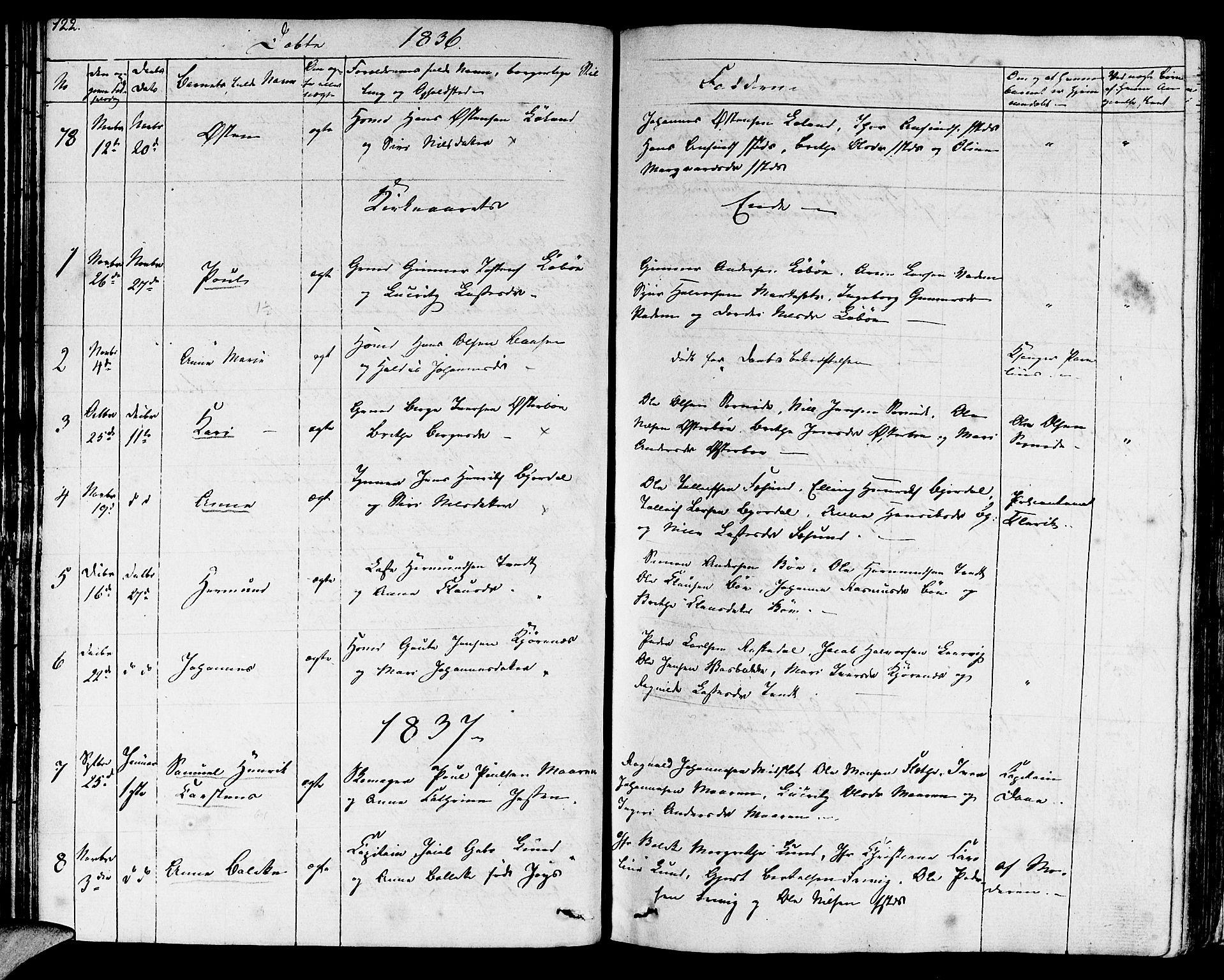 SAB, Lavik sokneprestembete, Ministerialbok nr. A 2I, 1821-1842, s. 122