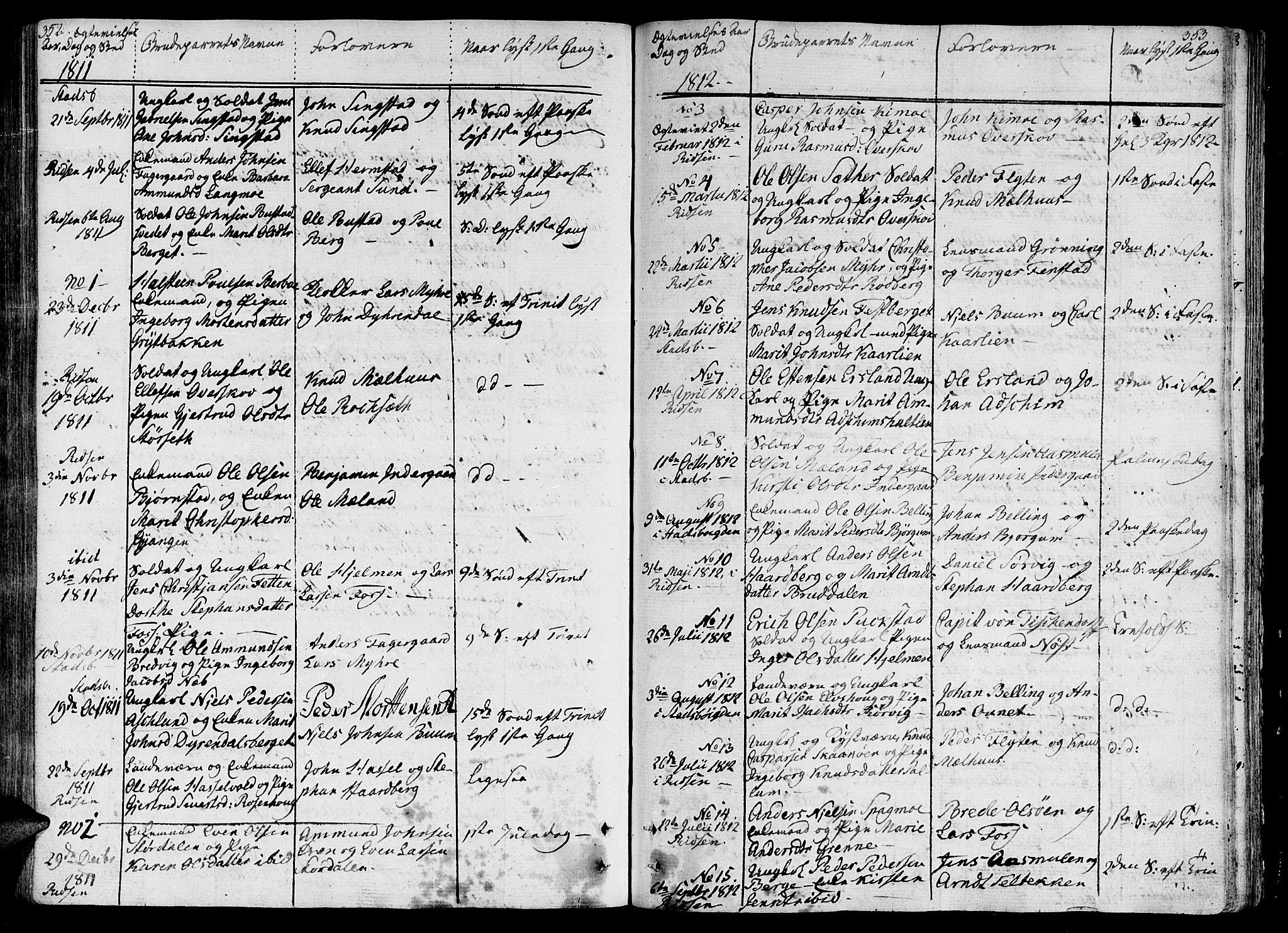 SAT, Ministerialprotokoller, klokkerbøker og fødselsregistre - Sør-Trøndelag, 646/L0607: Ministerialbok nr. 646A05, 1806-1815, s. 352-353