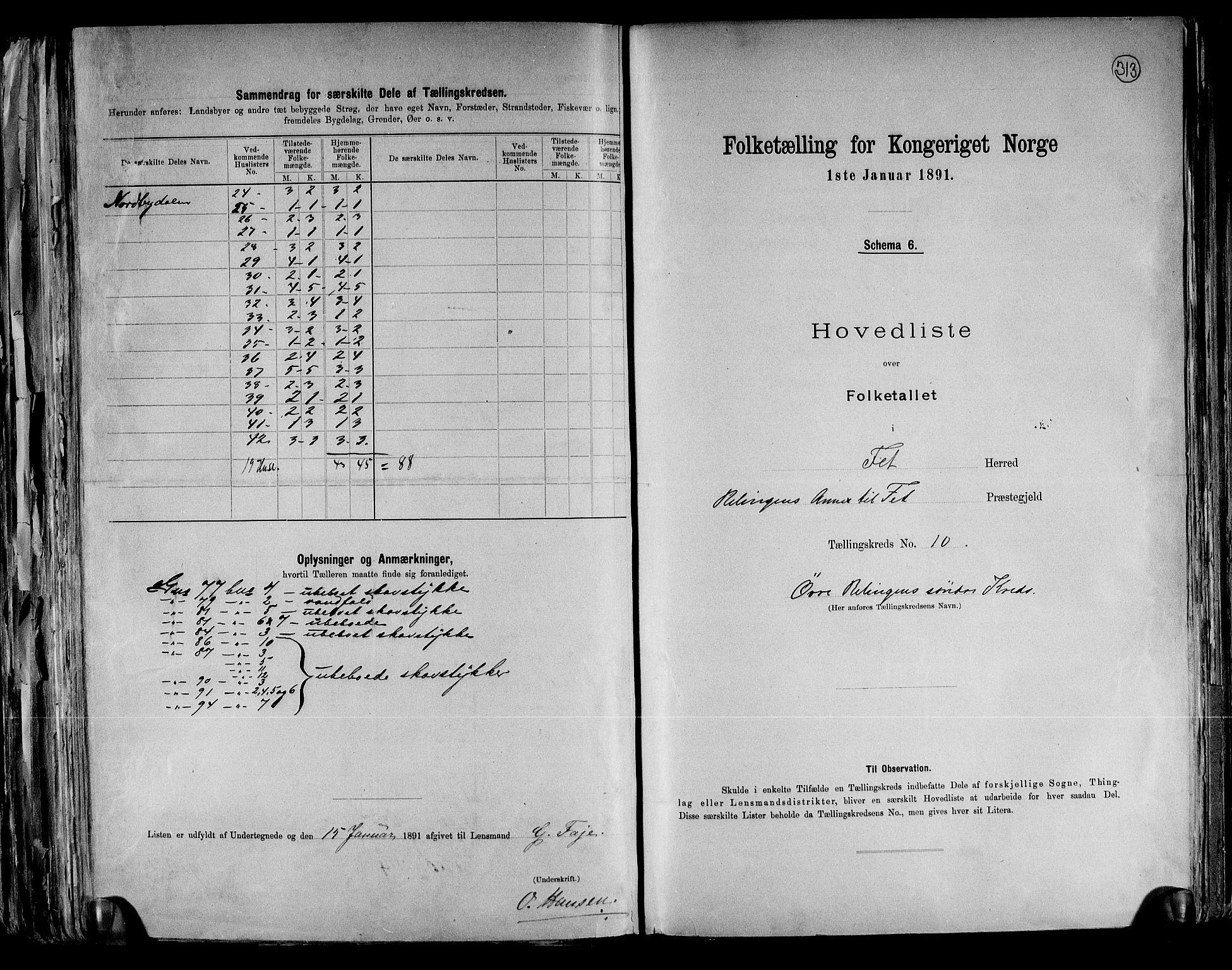 RA, Folketelling 1891 for 0227 Fet herred, 1891, s. 23