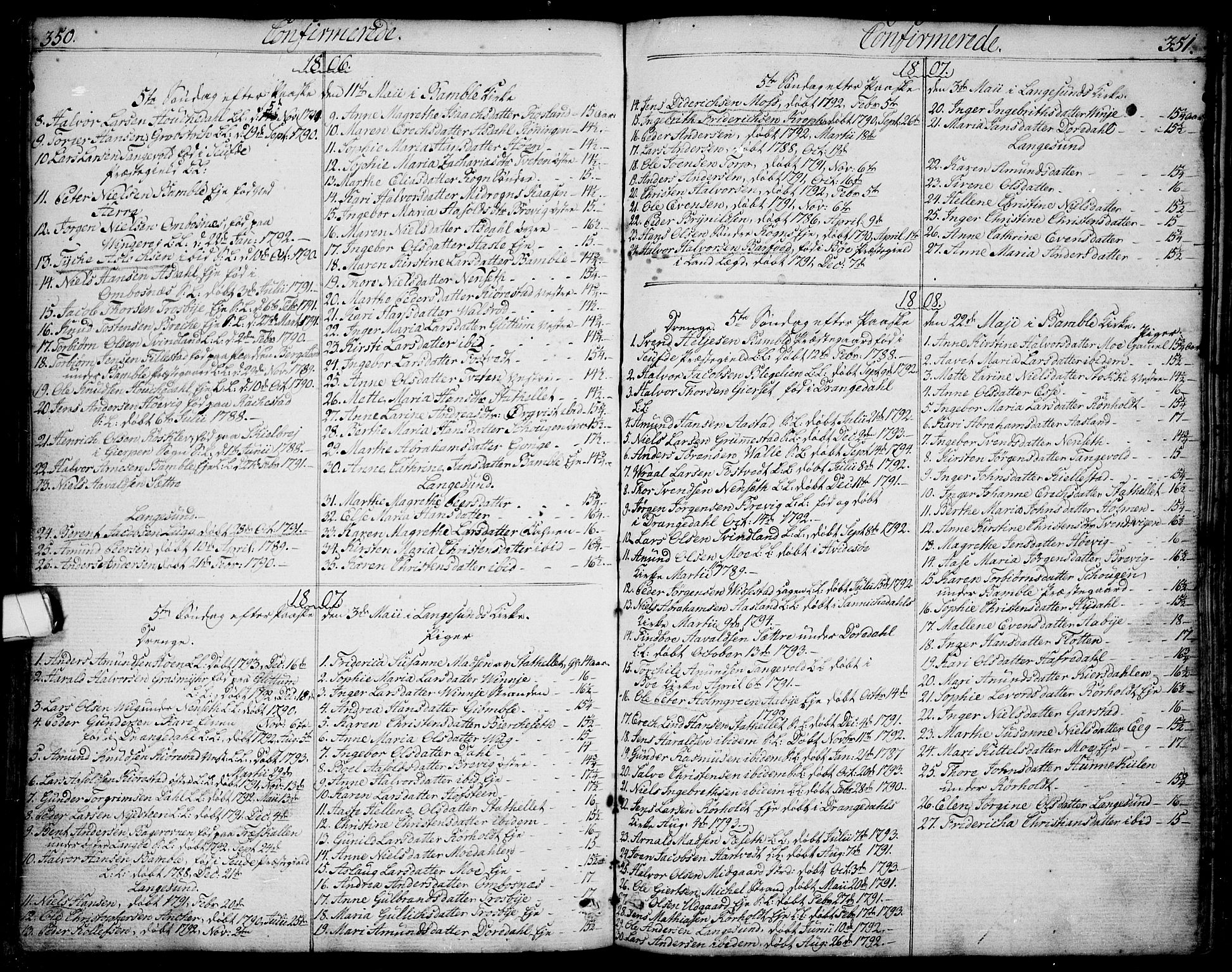 SAKO, Bamble kirkebøker, F/Fa/L0002: Ministerialbok nr. I 2, 1775-1814, s. 350-351