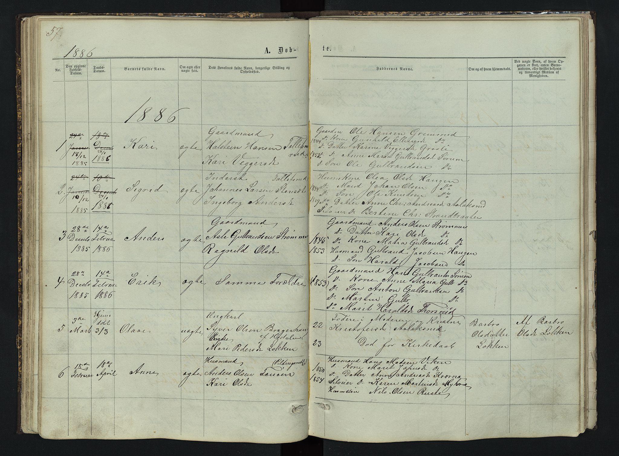 SAH, Sør-Aurdal prestekontor, Klokkerbok nr. 3, 1862-1893, s. 57