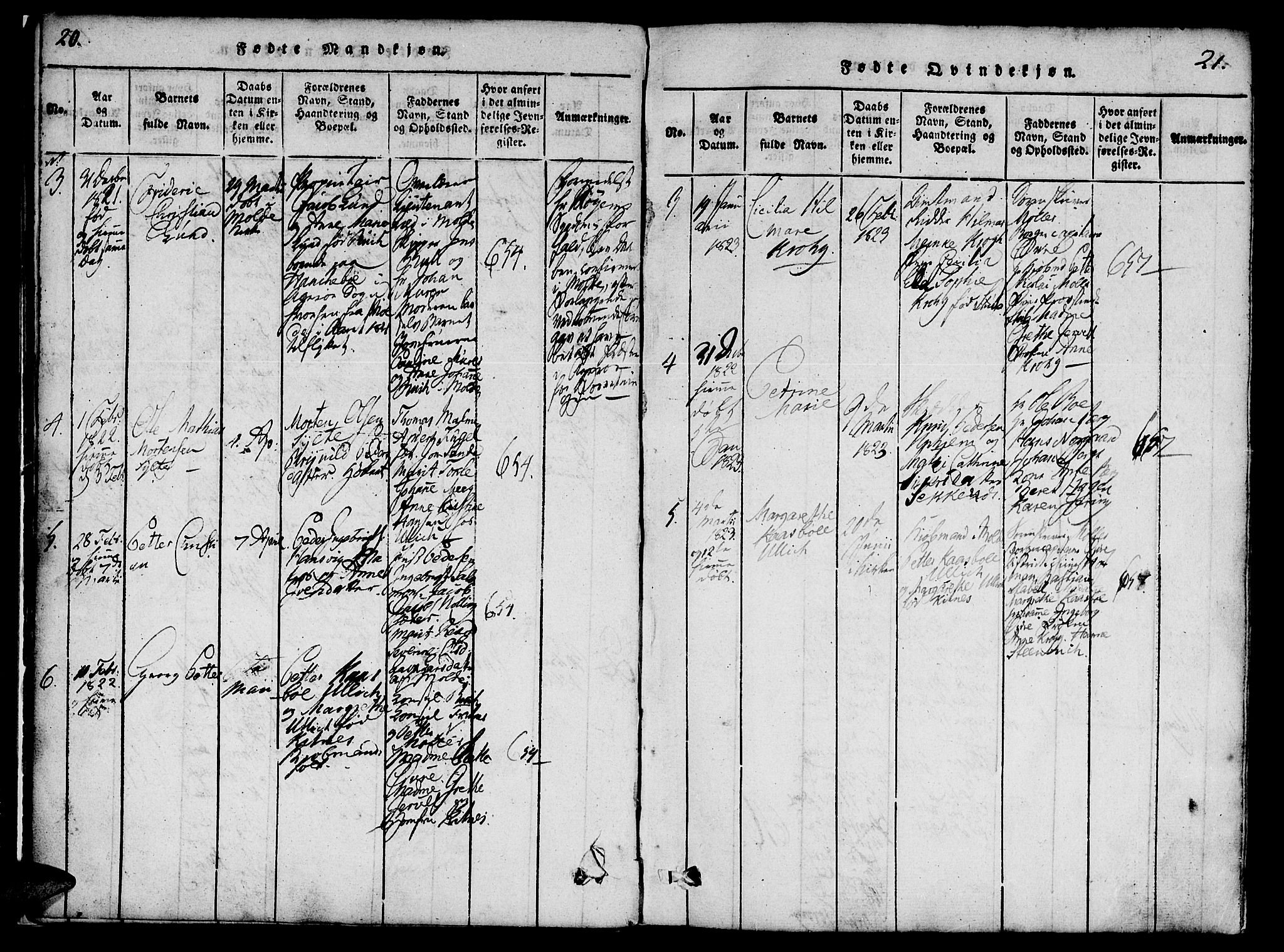 SAT, Ministerialprotokoller, klokkerbøker og fødselsregistre - Møre og Romsdal, 558/L0688: Ministerialbok nr. 558A02, 1818-1843, s. 20-21