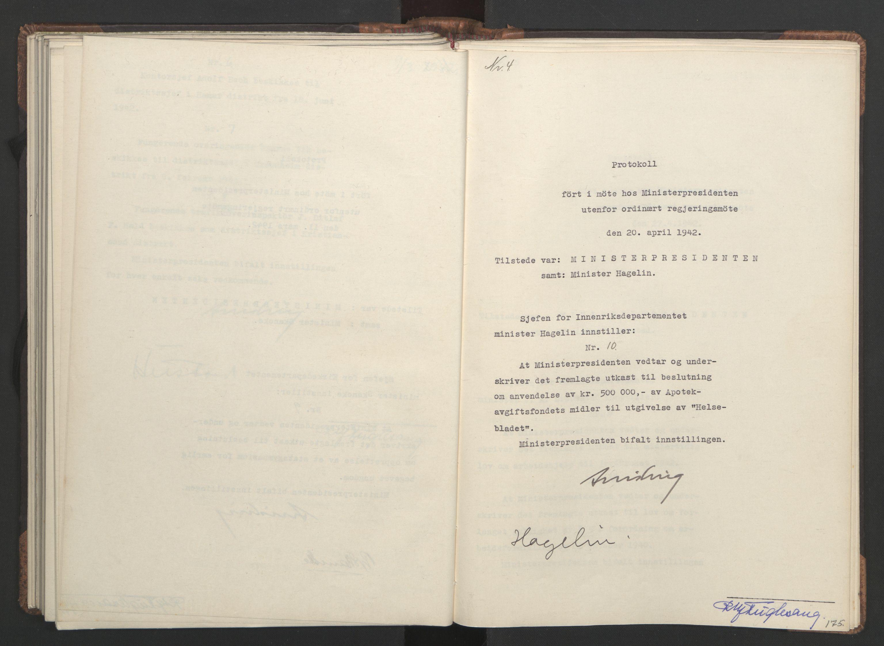 RA, NS-administrasjonen 1940-1945 (Statsrådsekretariatet, de kommisariske statsråder mm), D/Da/L0001: Beslutninger og tillegg (1-952 og 1-32), 1942, s. 174b-175a