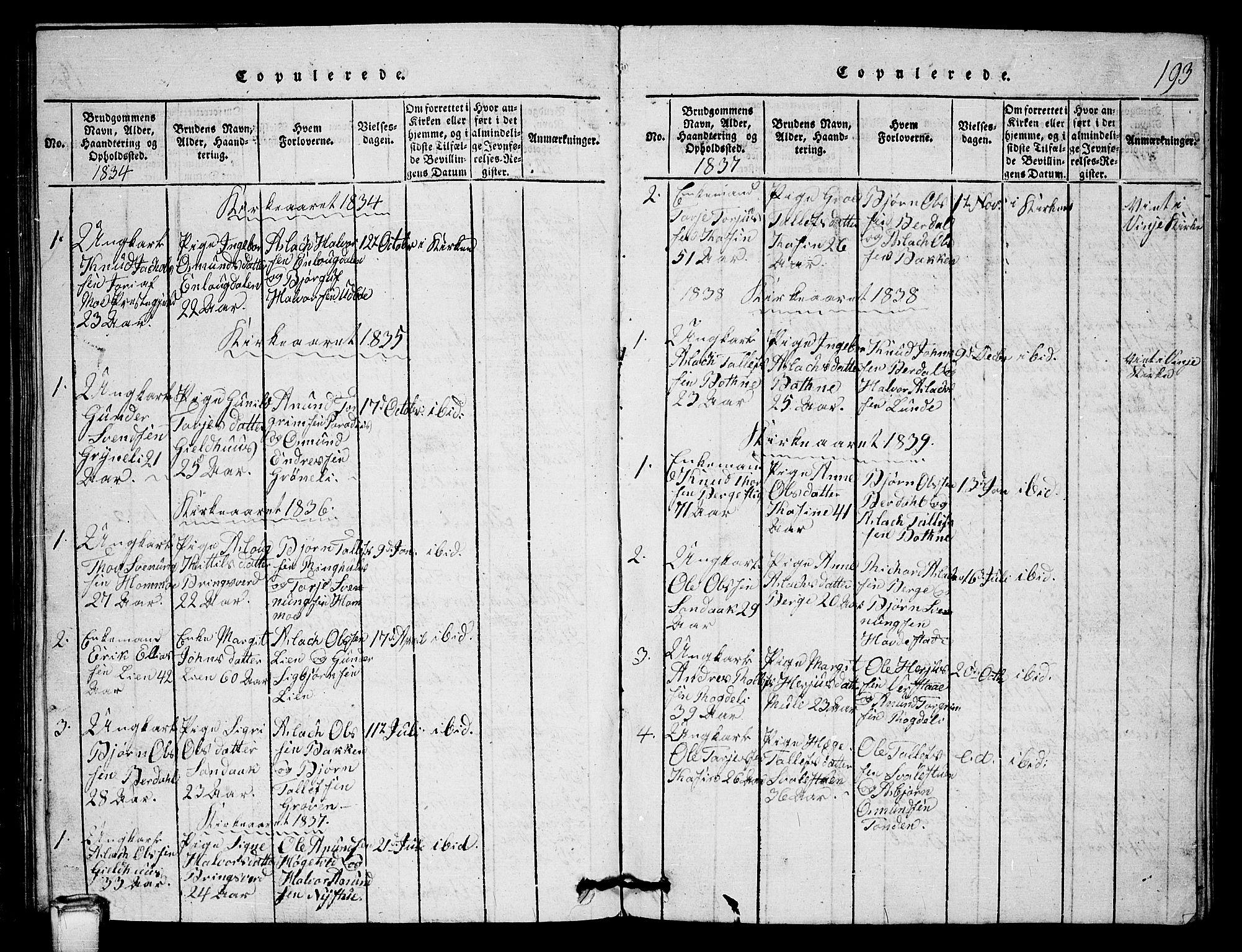 SAKO, Vinje kirkebøker, G/Gb/L0001: Klokkerbok nr. II 1, 1814-1843, s. 193
