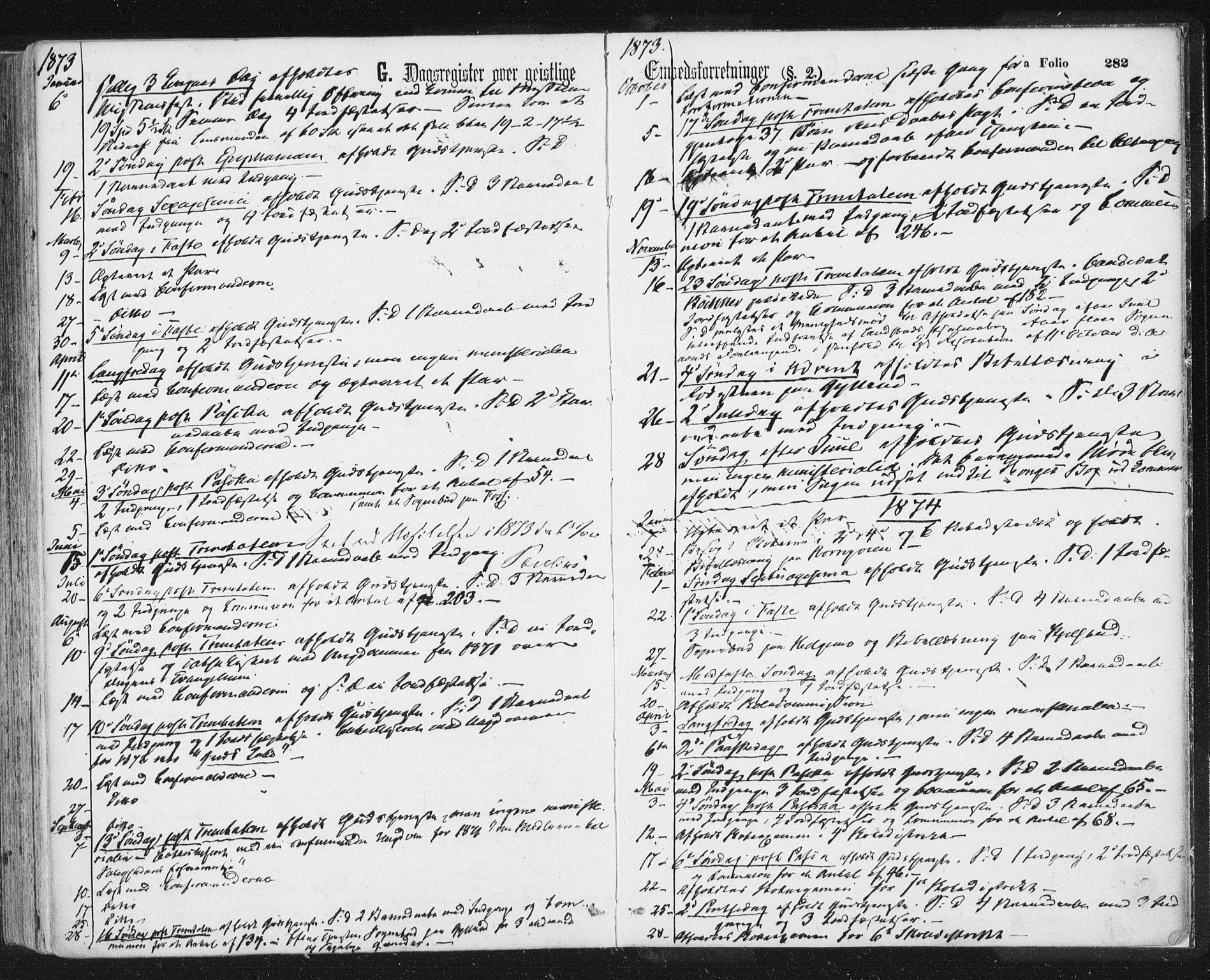SAT, Ministerialprotokoller, klokkerbøker og fødselsregistre - Sør-Trøndelag, 692/L1104: Ministerialbok nr. 692A04, 1862-1878, s. 282