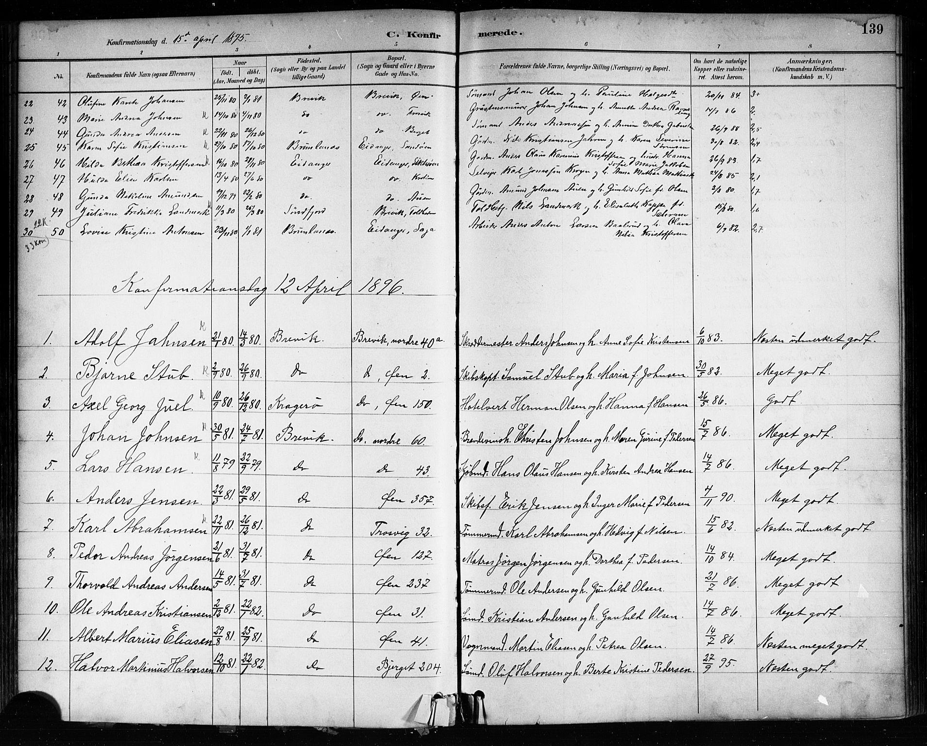 SAKO, Brevik kirkebøker, F/Fa/L0007: Ministerialbok nr. 7, 1882-1900, s. 139