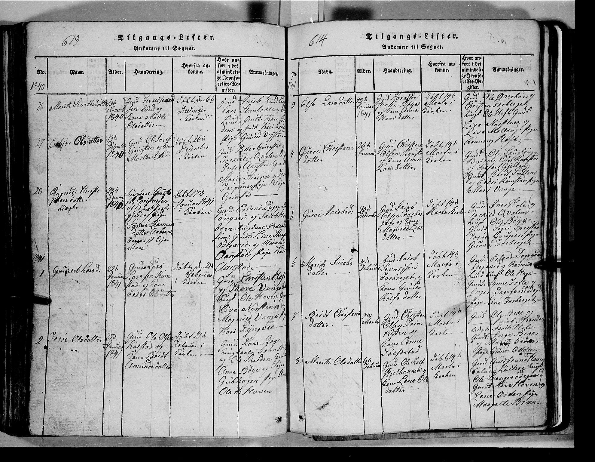 SAH, Lom prestekontor, L/L0003: Klokkerbok nr. 3, 1815-1844, s. 613-614