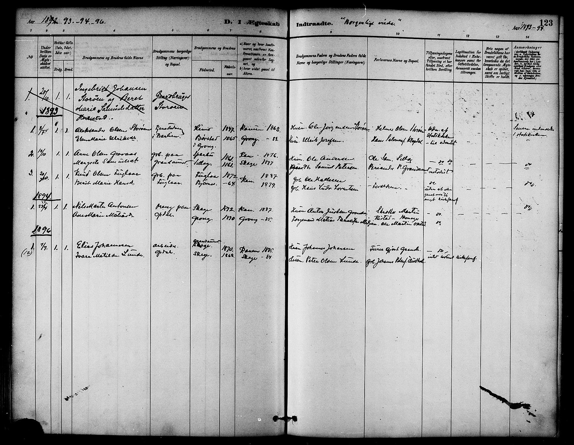 SAT, Ministerialprotokoller, klokkerbøker og fødselsregistre - Nord-Trøndelag, 764/L0555: Ministerialbok nr. 764A10, 1881-1896, s. 123