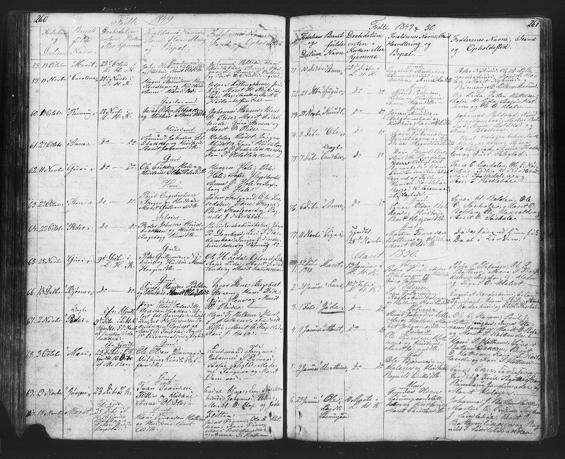 SAH, Lesja prestekontor, Klokkerbok nr. 2, 1832-1850, s. 260-261