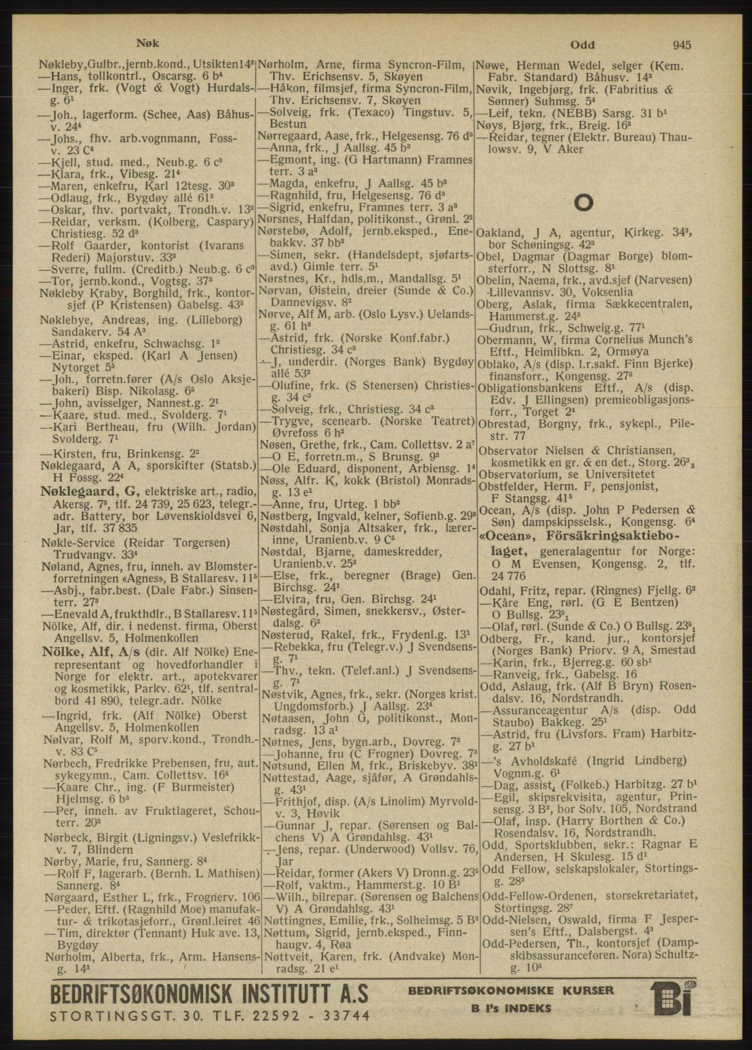 RA, Oslo adressebok (publikasjon)*, 1946, s. 945