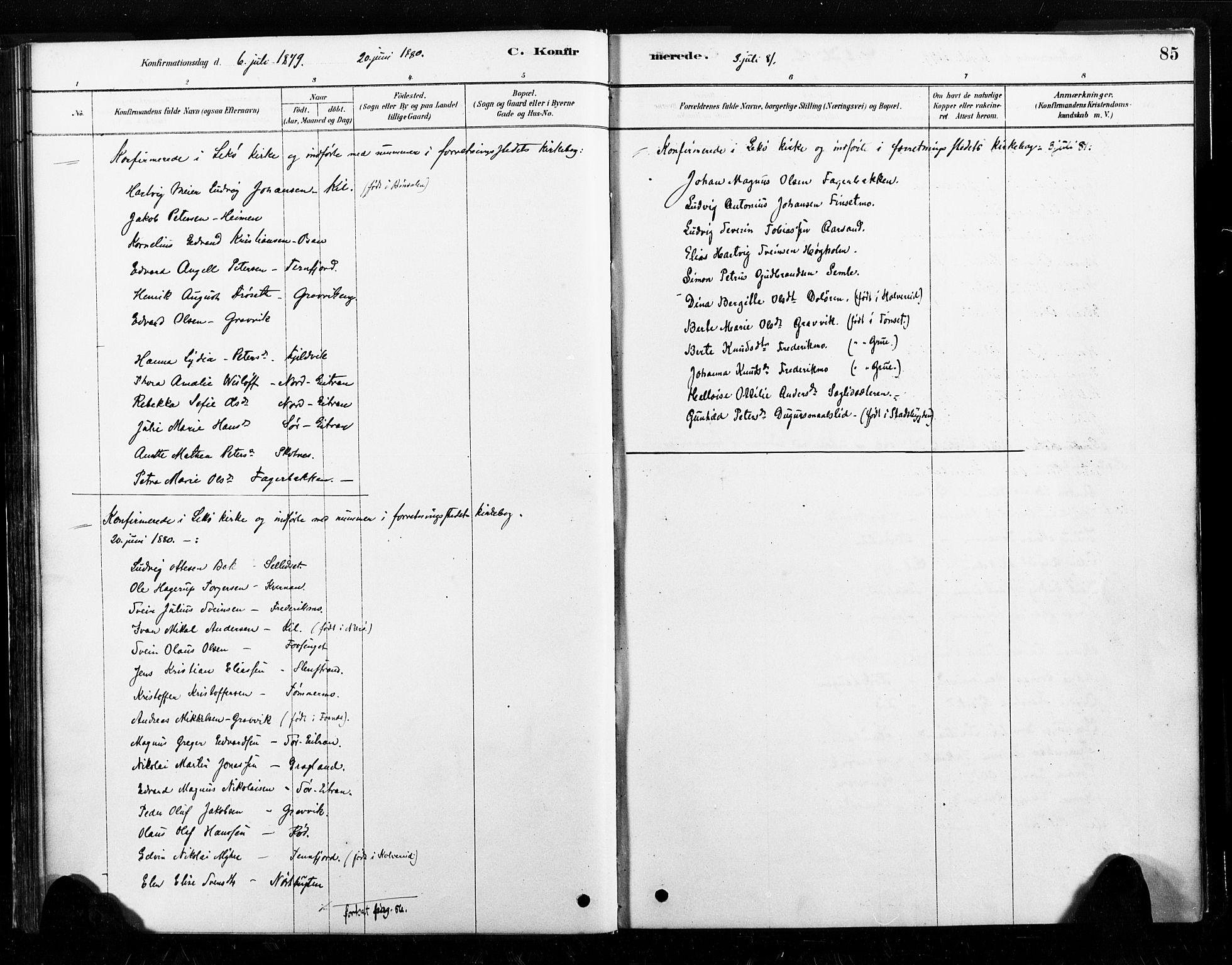 SAT, Ministerialprotokoller, klokkerbøker og fødselsregistre - Nord-Trøndelag, 789/L0705: Ministerialbok nr. 789A01, 1878-1910, s. 85