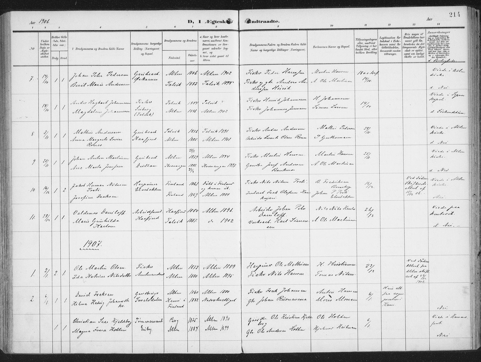 SATØ, Alta sokneprestembete, Ministerialbok nr. 5, 1904-1918, s. 214